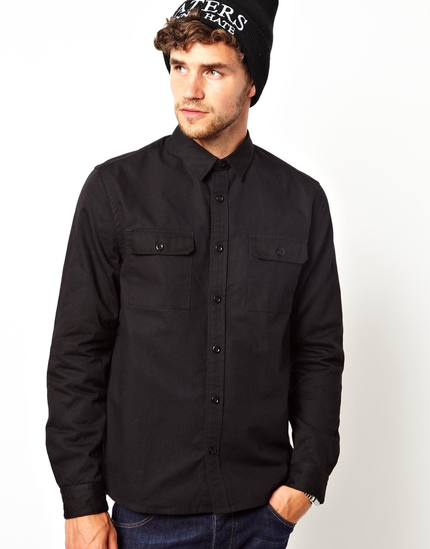 Asos Overshirt in Long Sleeve with Quilted Sleeves in Black for ...