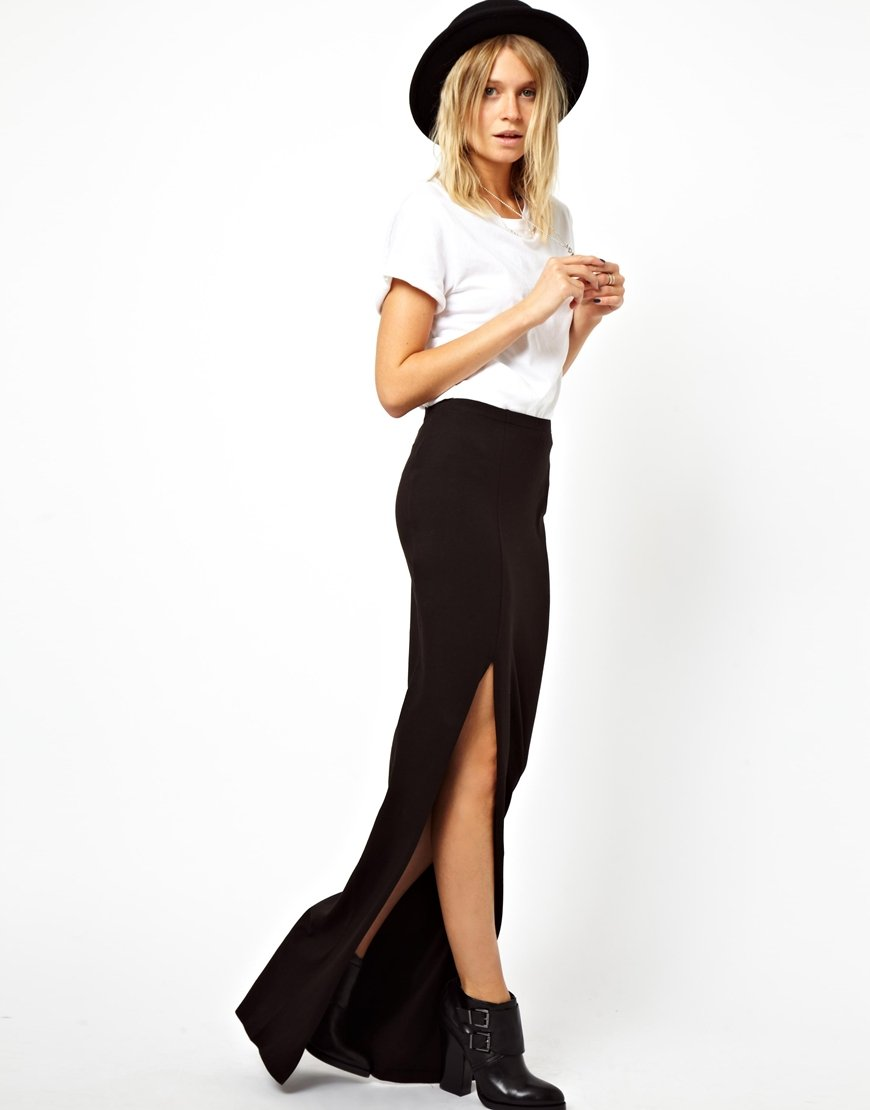 Asos Maxi Skirt with Thigh High Split in Black | Lyst