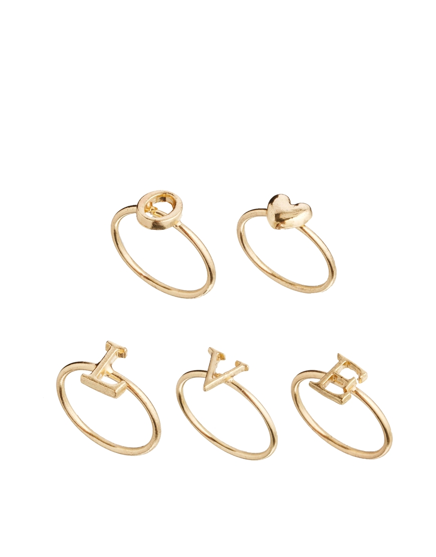 Pack of 5 Love Ring Pack - Gold Asos WH1ezEqQ