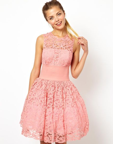 Asos Prom Dress with Elastic Waist in Pink