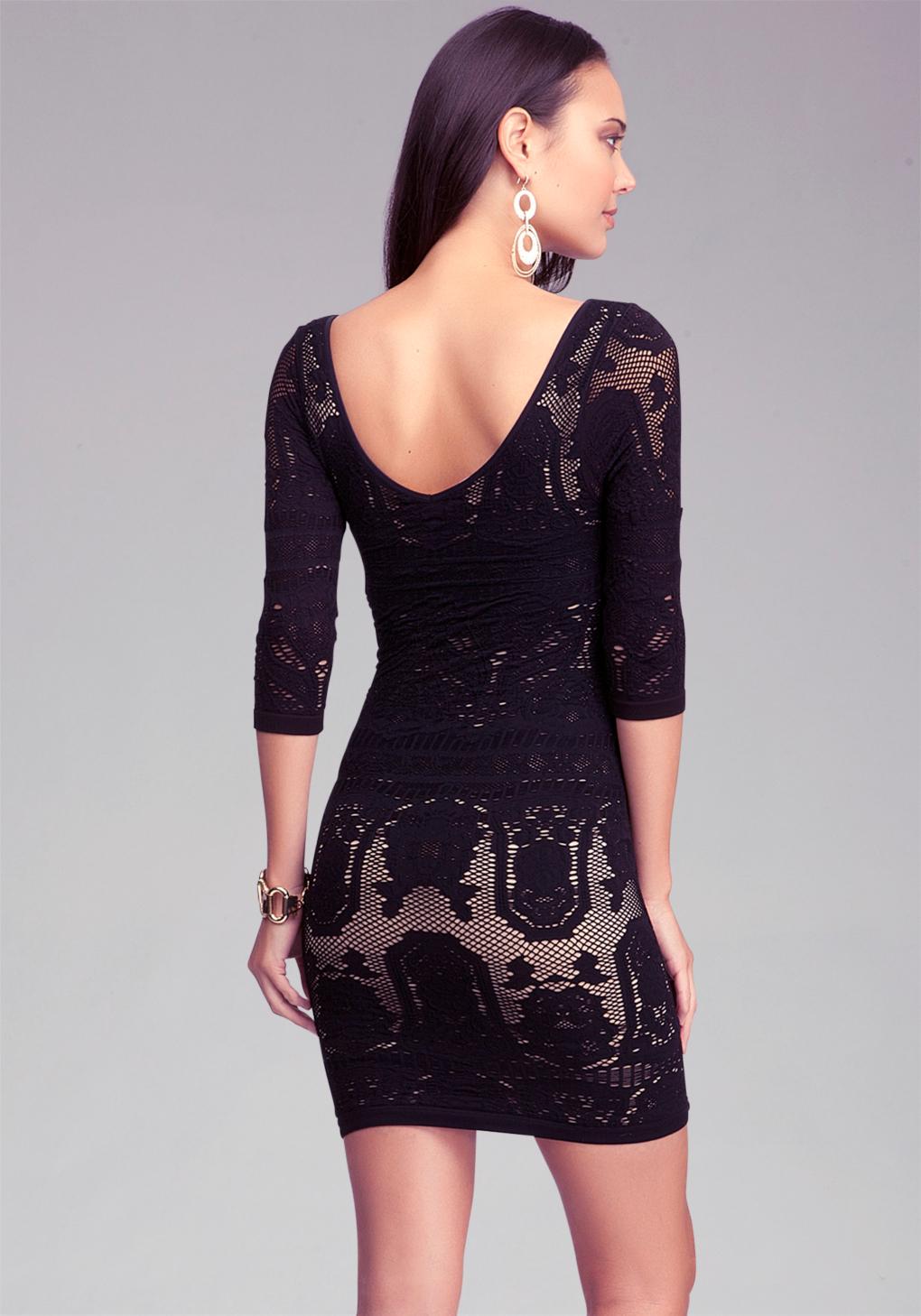 Bebe Lace Drama Bodycon Dress In Black Lyst