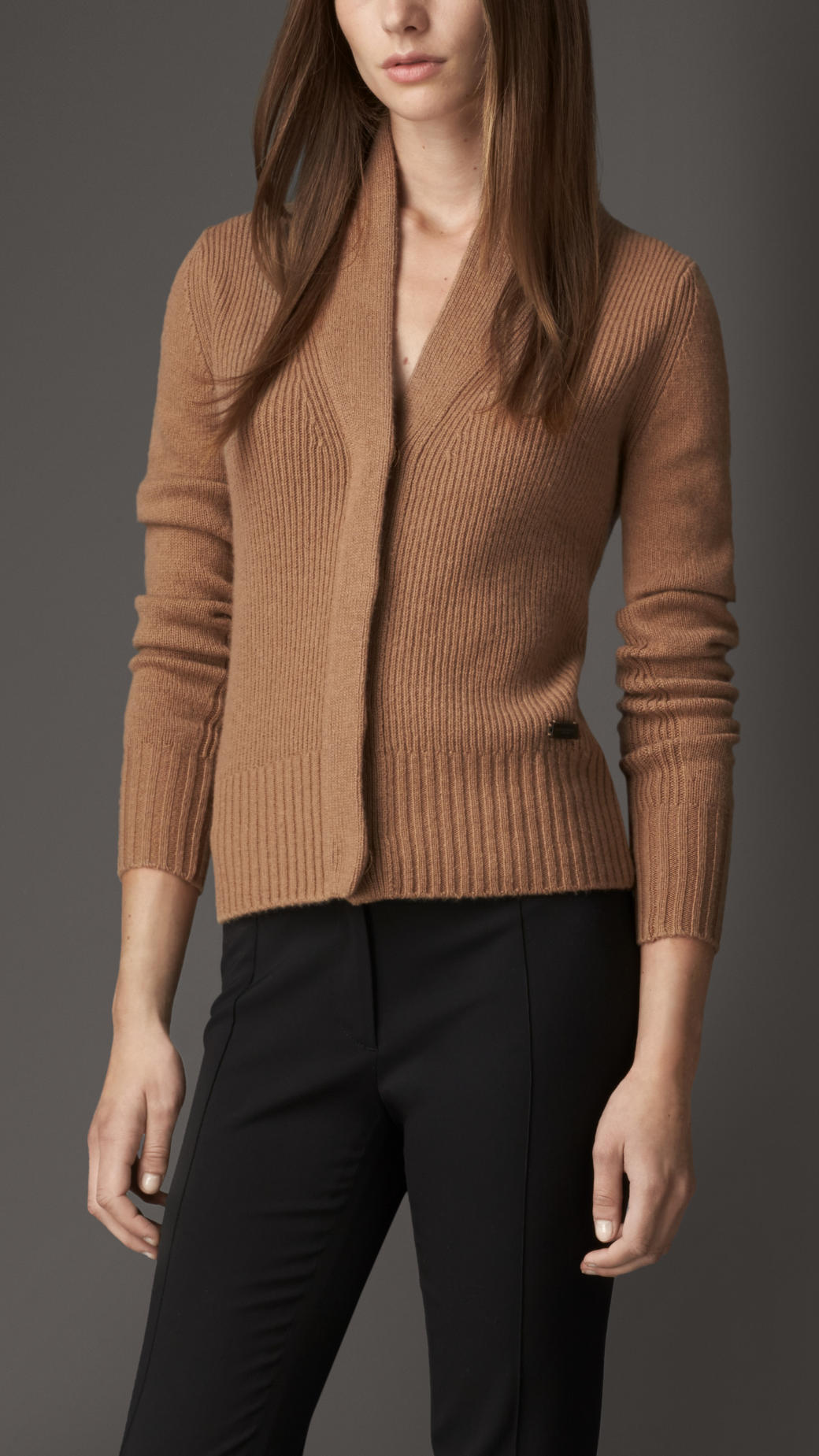 Burberry Cashmere Shawl Collar Cardigan in Brown | Lyst