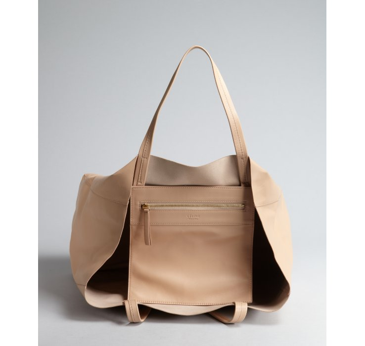 celine beige leather handbag hobo