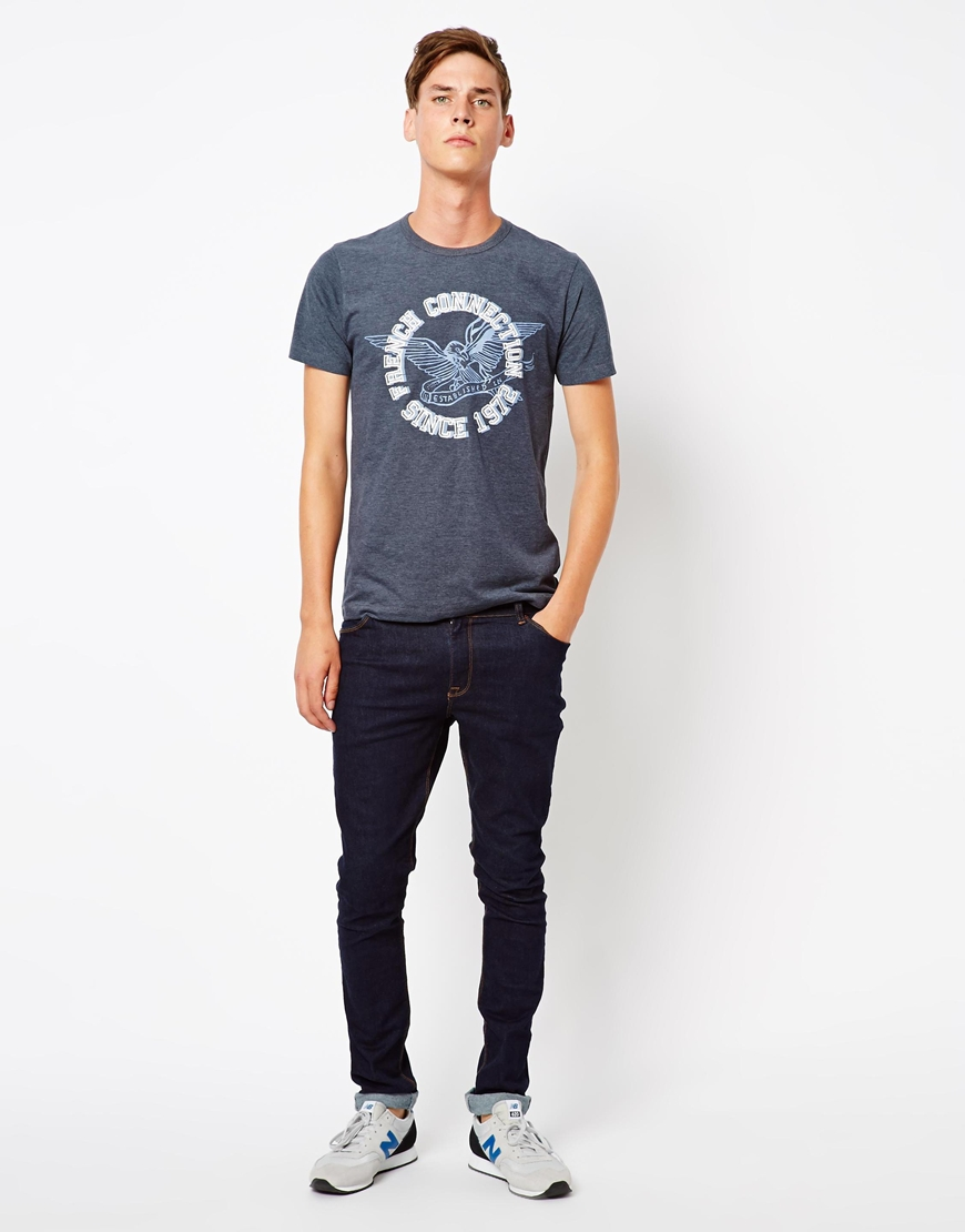 French connection t shirt in blue for men navy lyst for French blue t shirt