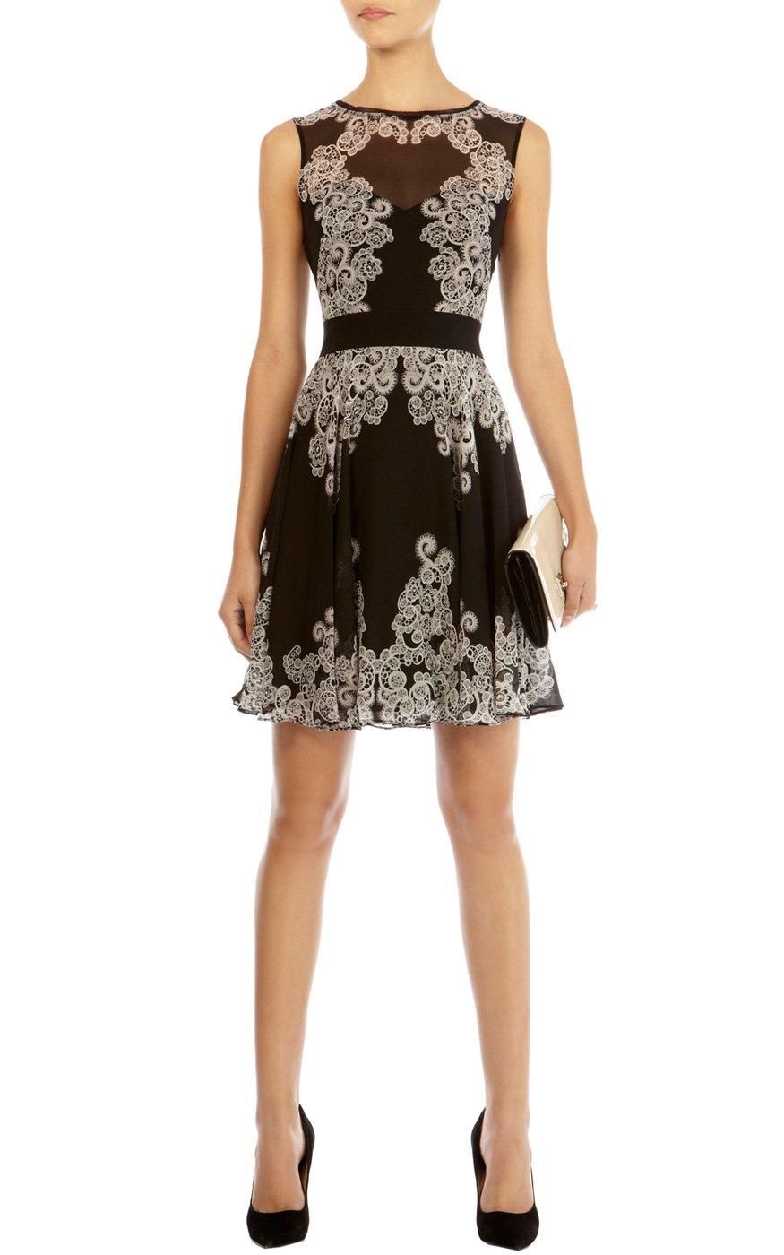 Lyst Karen Millen Lace Print Dress In Black