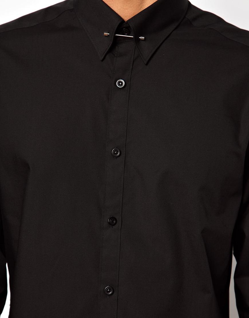 Lyst Asos Lambretta Shirt With Collar Bar In Black For Men