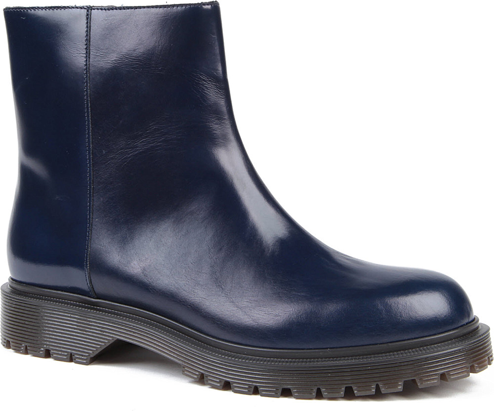 marni marni anktube leather ankle boots in blue lyst
