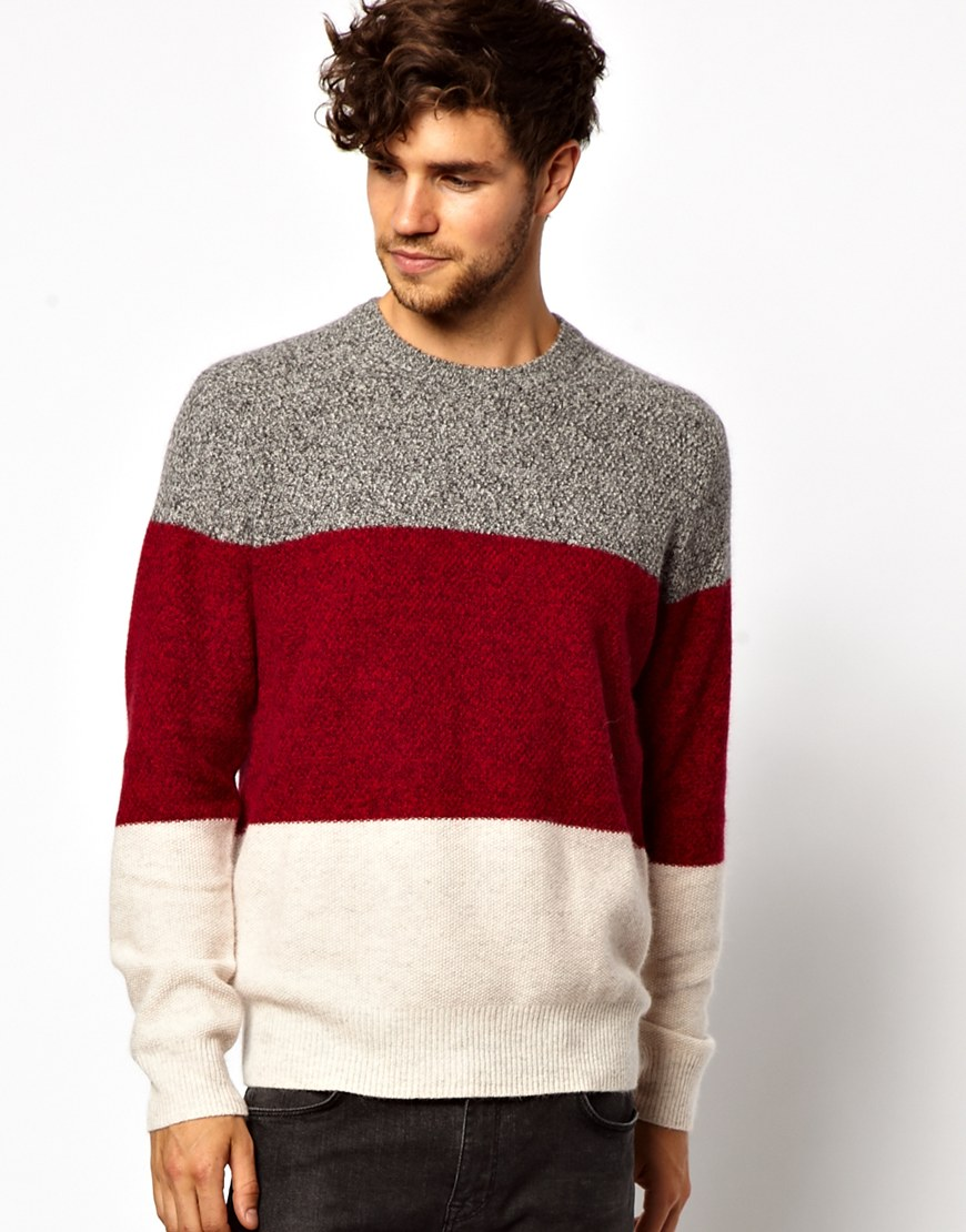 Paul smith Color Block Sweater in Red for Men | Lyst