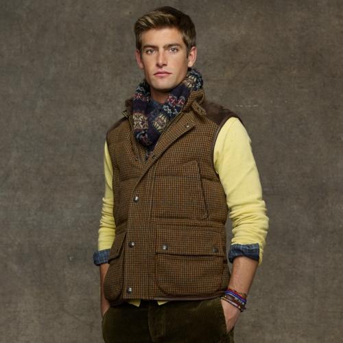 Polo Ralph Lauren Tweed Down Vest in Burgundy (Brown) for