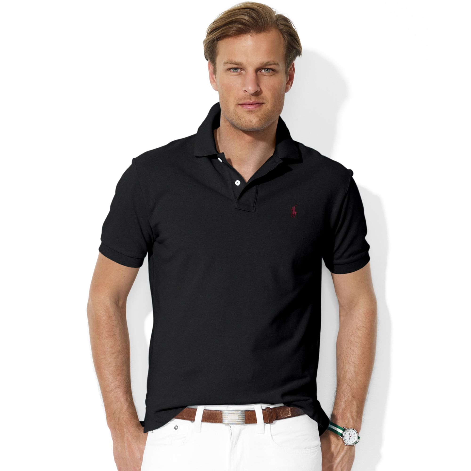 Ralph Lauren Refined Logo Black Fashion Breathable Short Sleeved