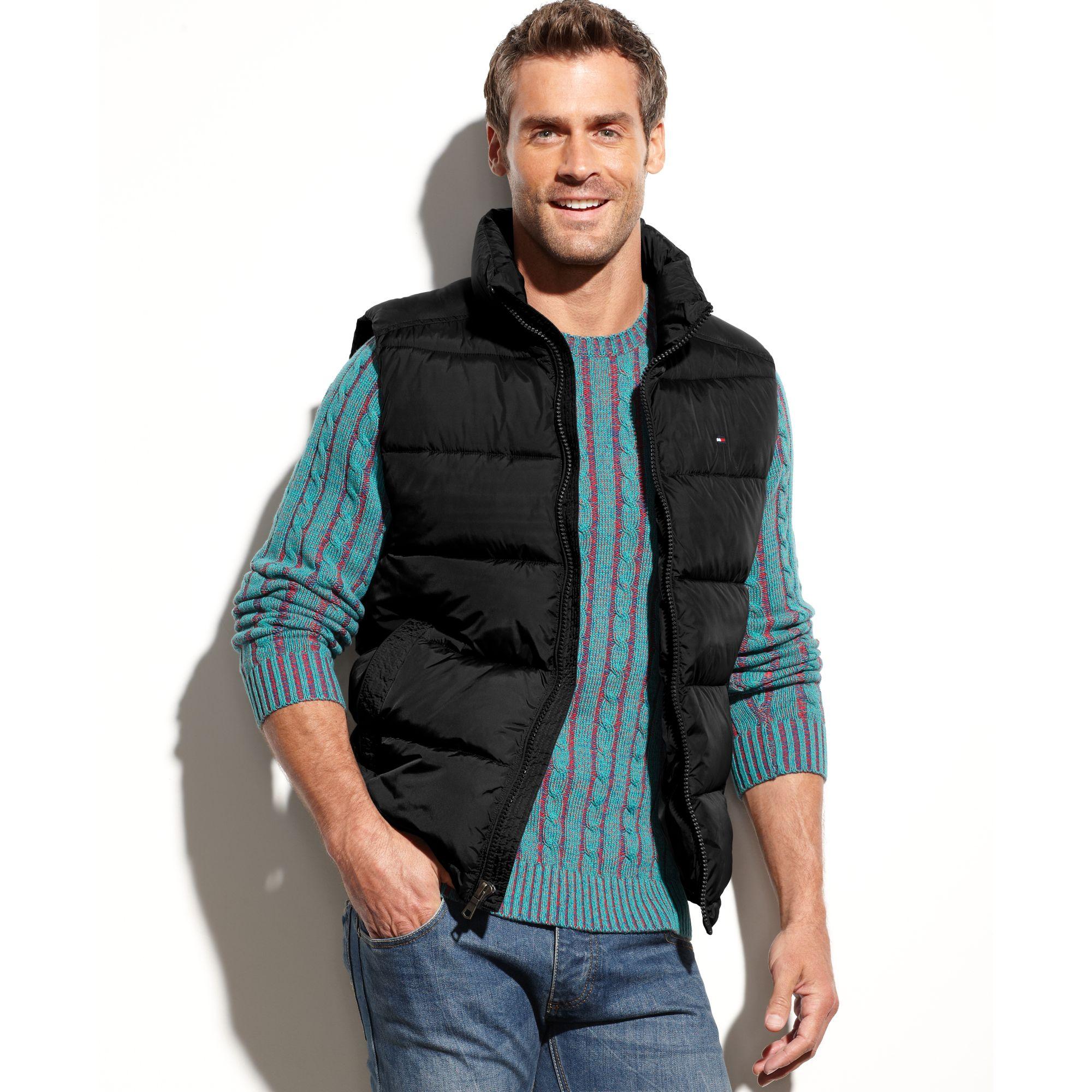 tommy hilfiger puffer vest in black for men black w. Black Bedroom Furniture Sets. Home Design Ideas