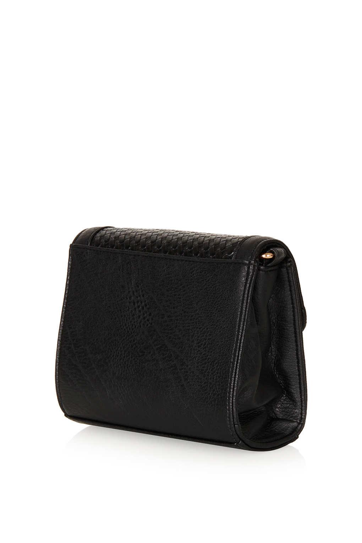 TOPSHOP Woven Mini Crossbody Bag in Black
