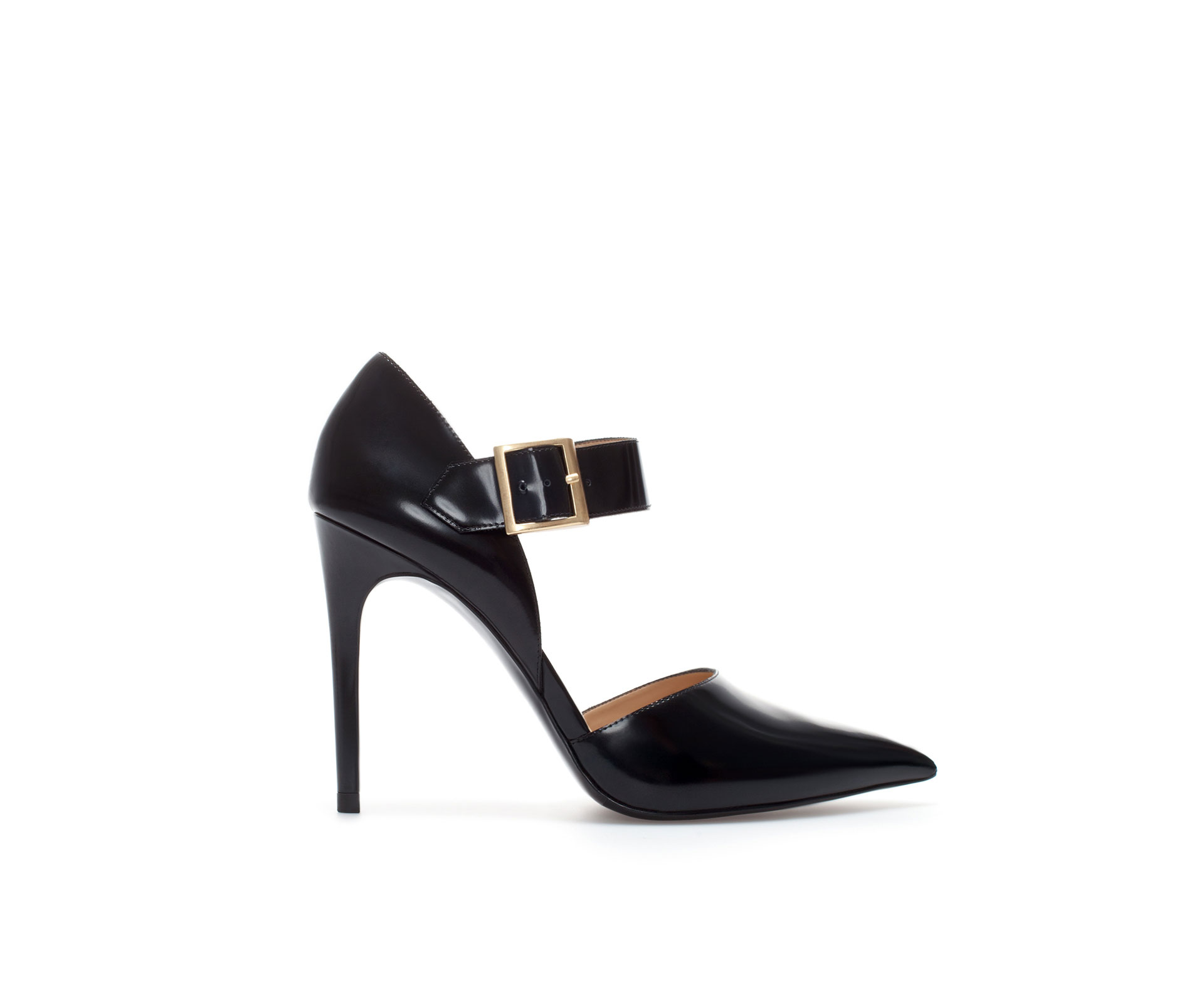 zara leather pointed court shoe with buckle in black lyst