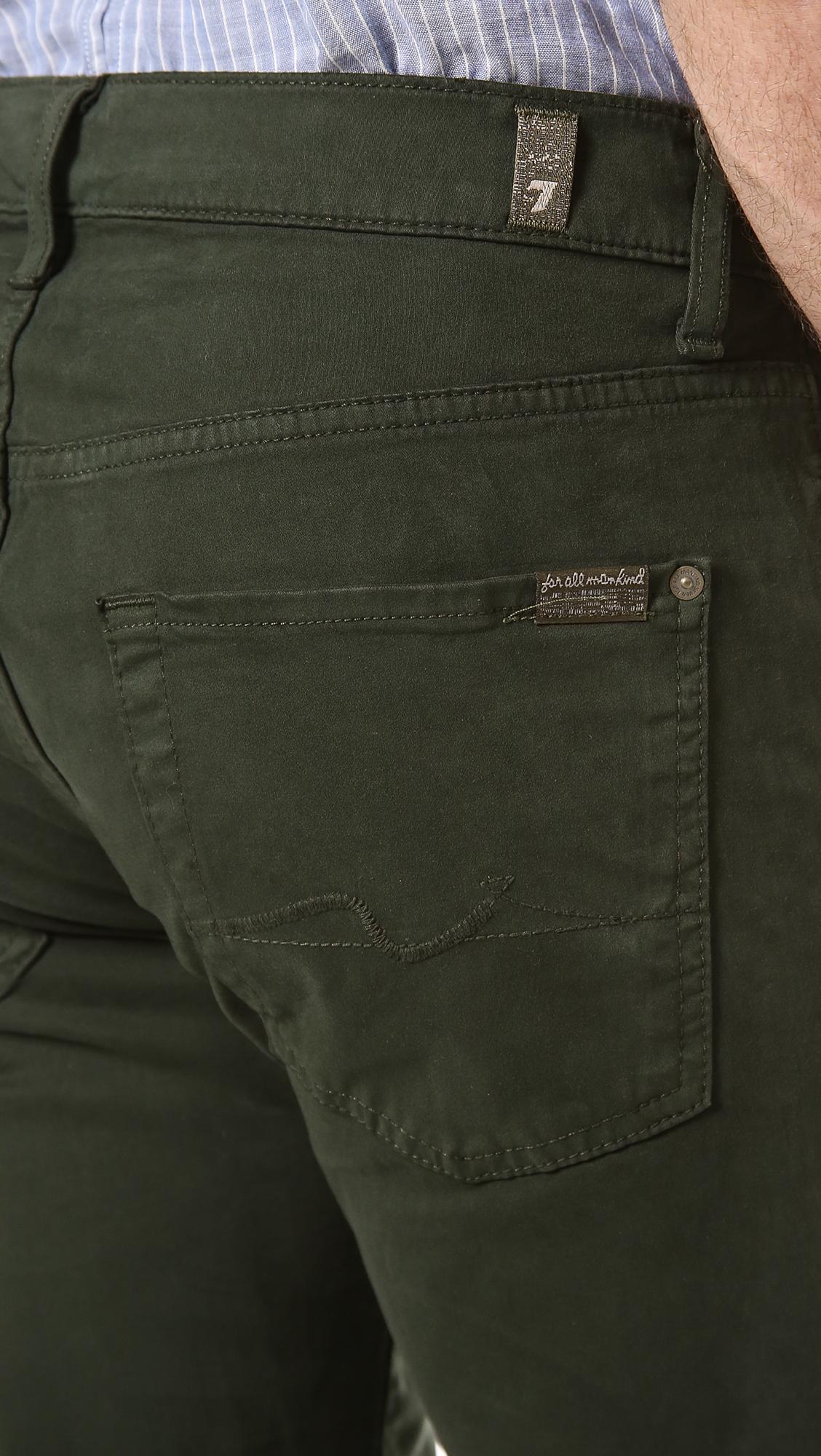 7 For All Mankind Carsen Easy Straight Leg Jeans in Dark Olive (Green) for Men