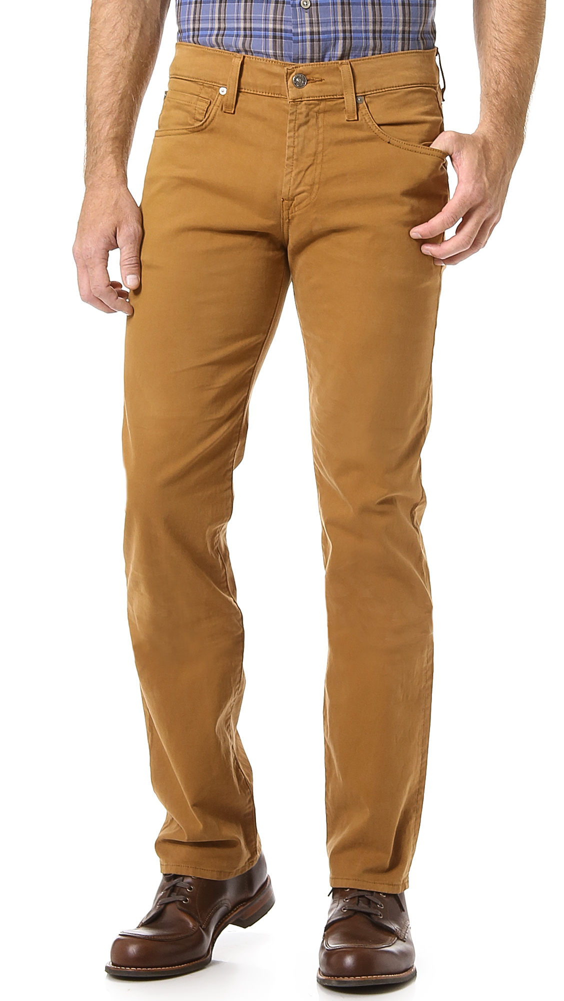 7 For All Mankind Carsen Easy Straight Leg Jeans in Brown for Men