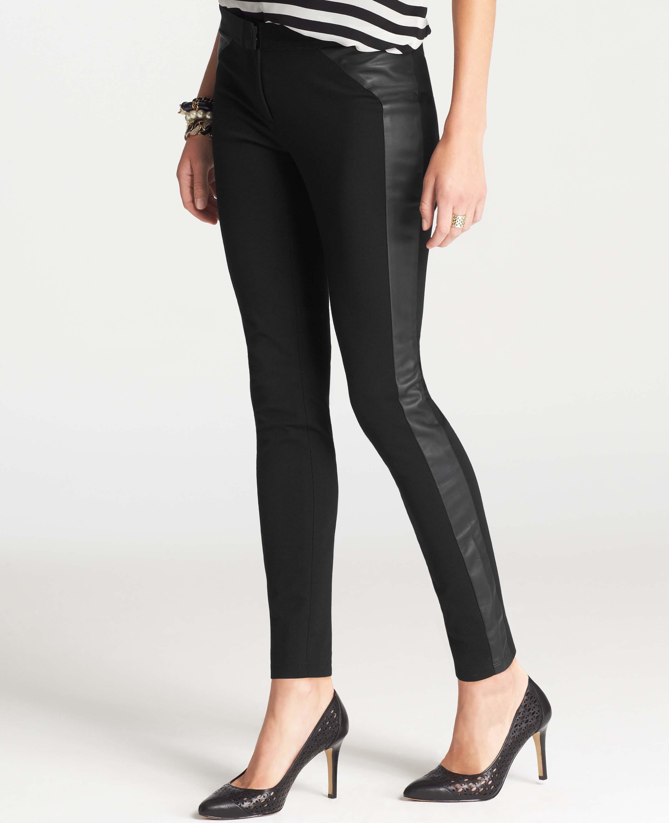 Lyst Ann Taylor Faux Leather Ponte Leggings In Black