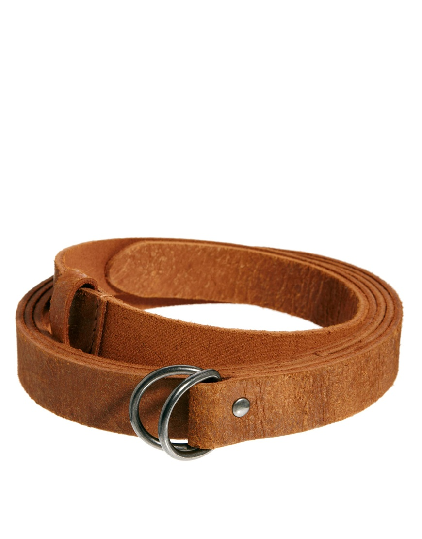 asos leather wrap belt in brown for lyst