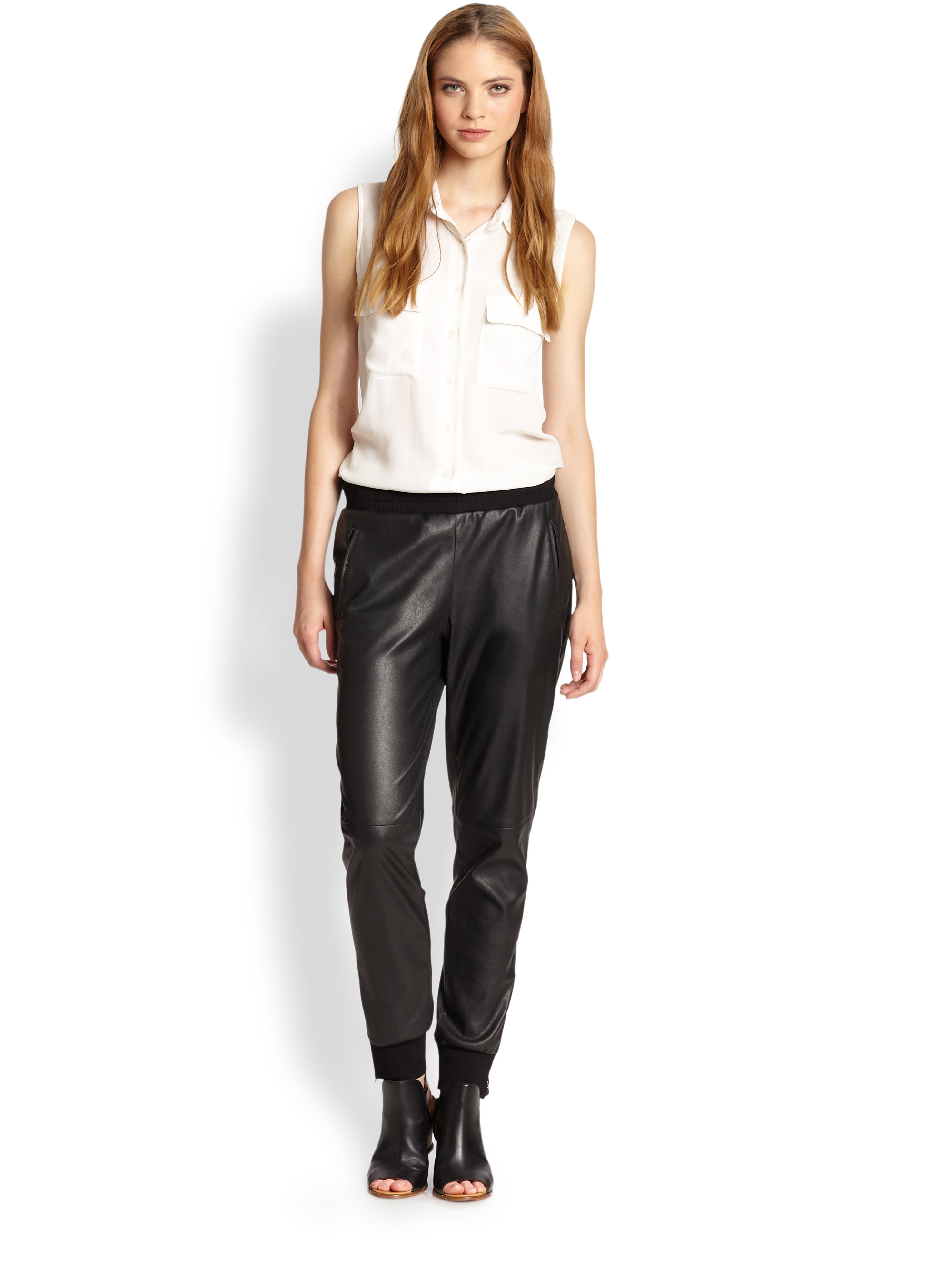a20ea7daf53384 Gallery. Previously sold at: Saks Fifth Avenue · Women's Black Leather Pants  Women's Faux ...