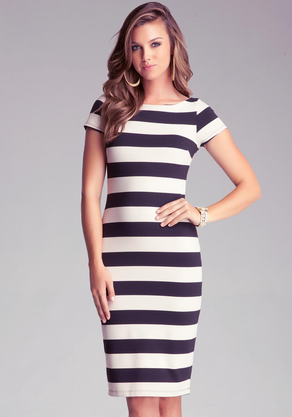 Bebe Stripe Midi Dress In Black White Lyst