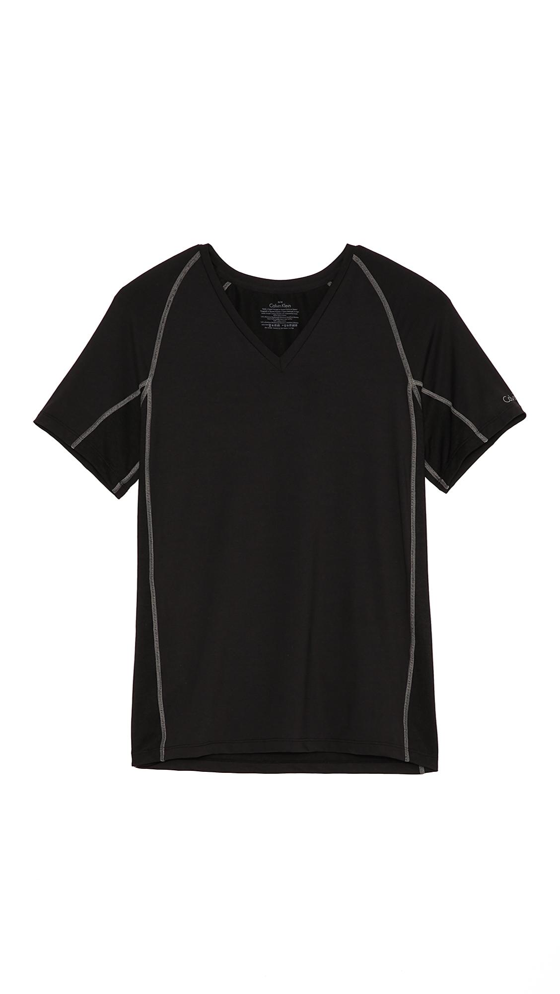 calvin klein performance v neck t shirt in black for men. Black Bedroom Furniture Sets. Home Design Ideas