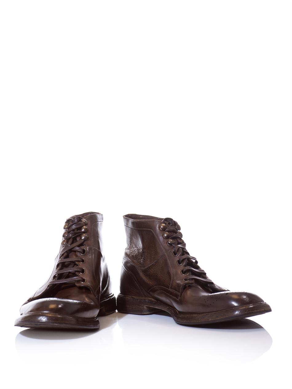 dolce gabbana brogue detail leather boots in brown for
