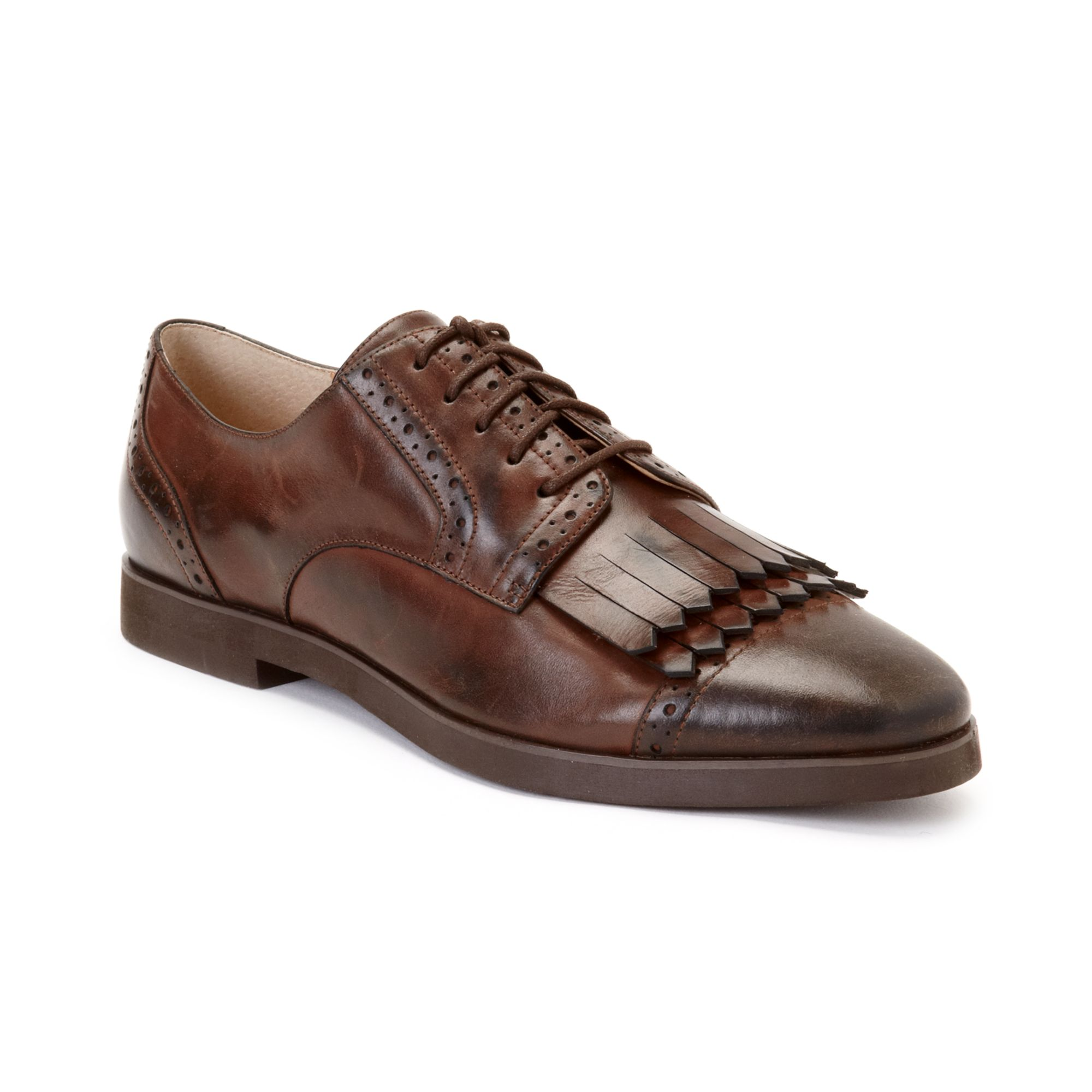 Enzo Angiolini Fireball Lace Up Oxfords In Brown Leather