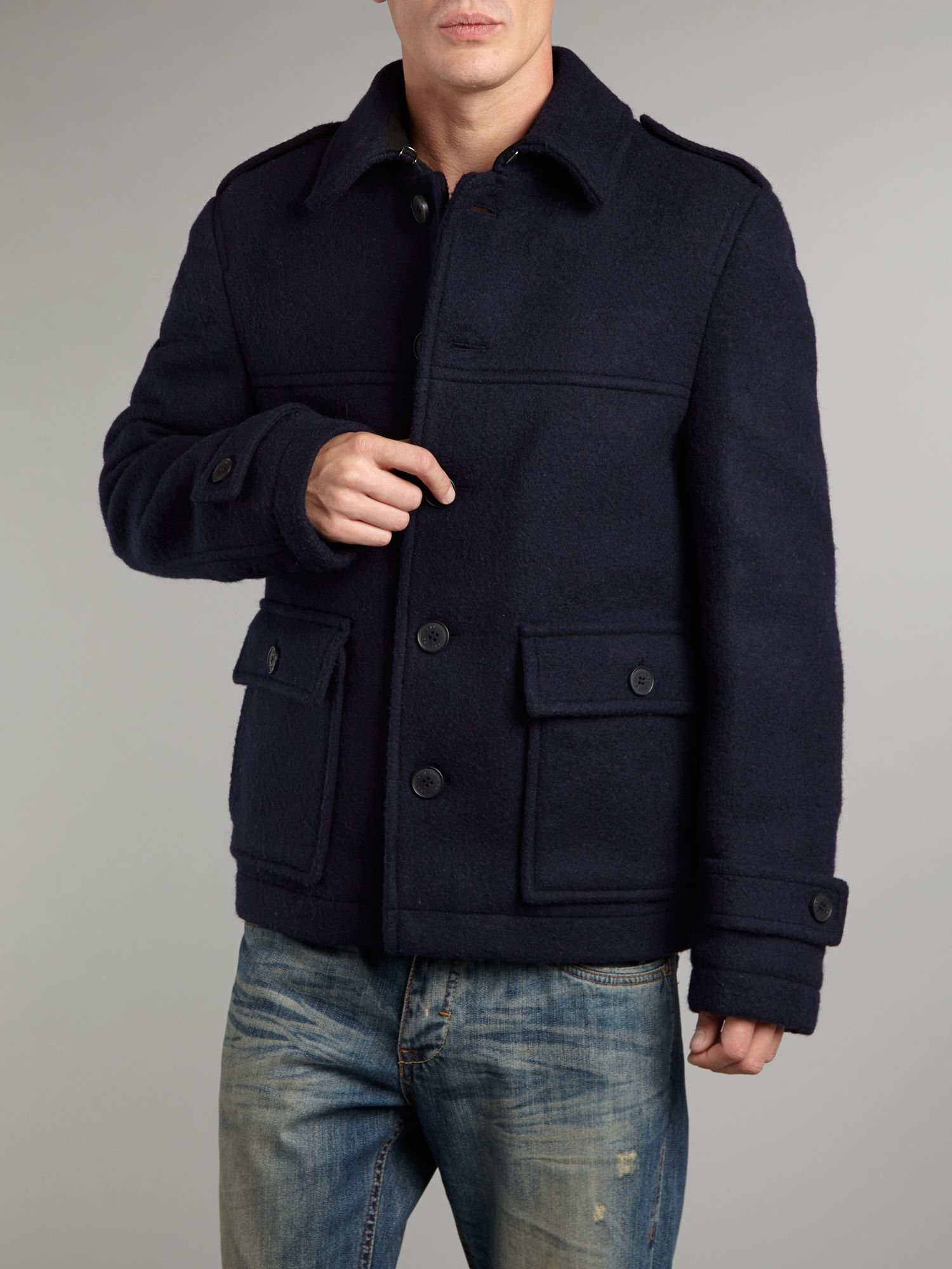 Farrell Donkey Jacket In Navy Blue For Men Lyst