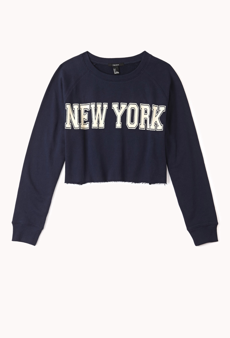 Forever 21 New York Cropped Sweatshirt In Blue