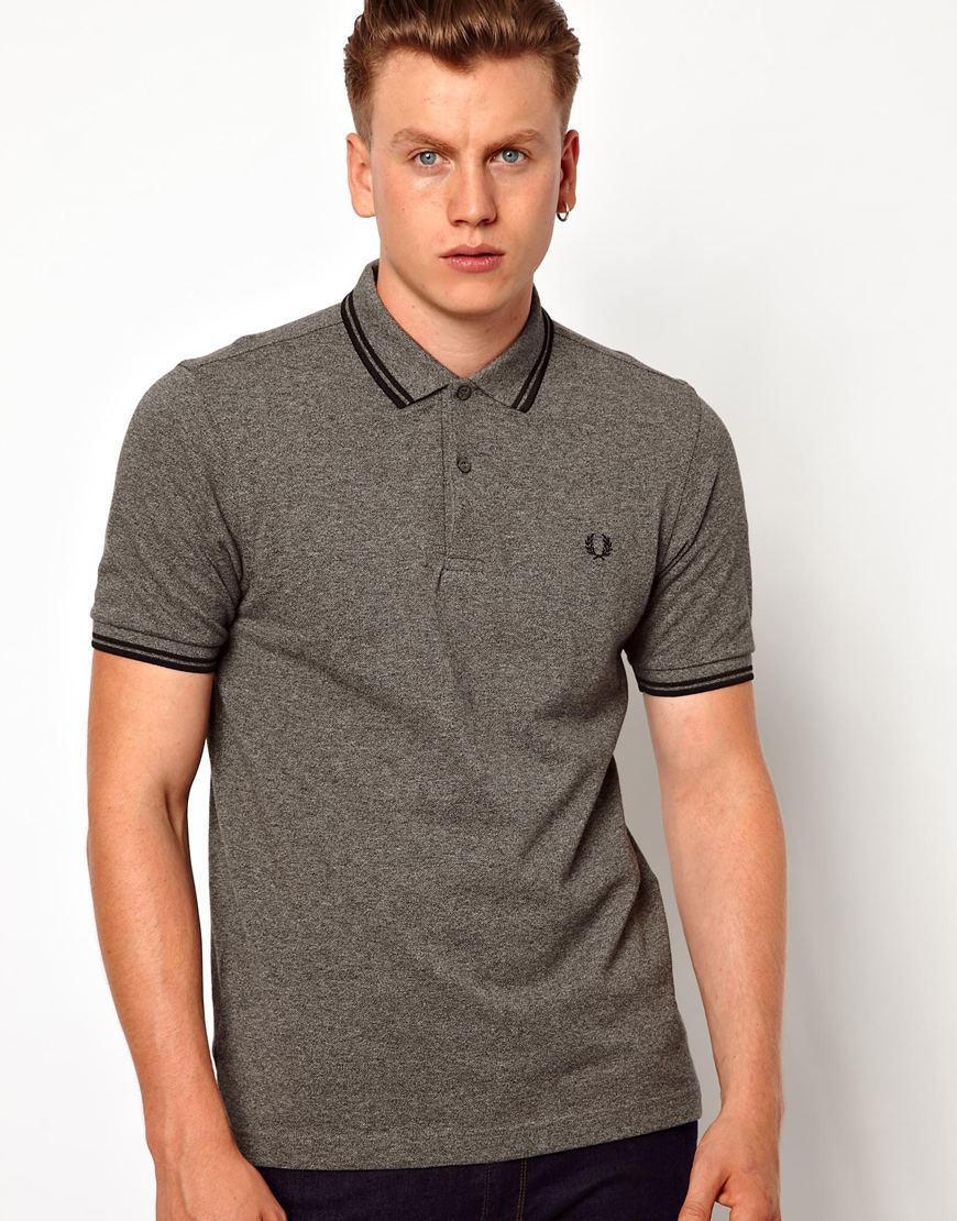 Lyst - Fred Perry Twin Tip Polo in Slim Fit Polo in Gray ...