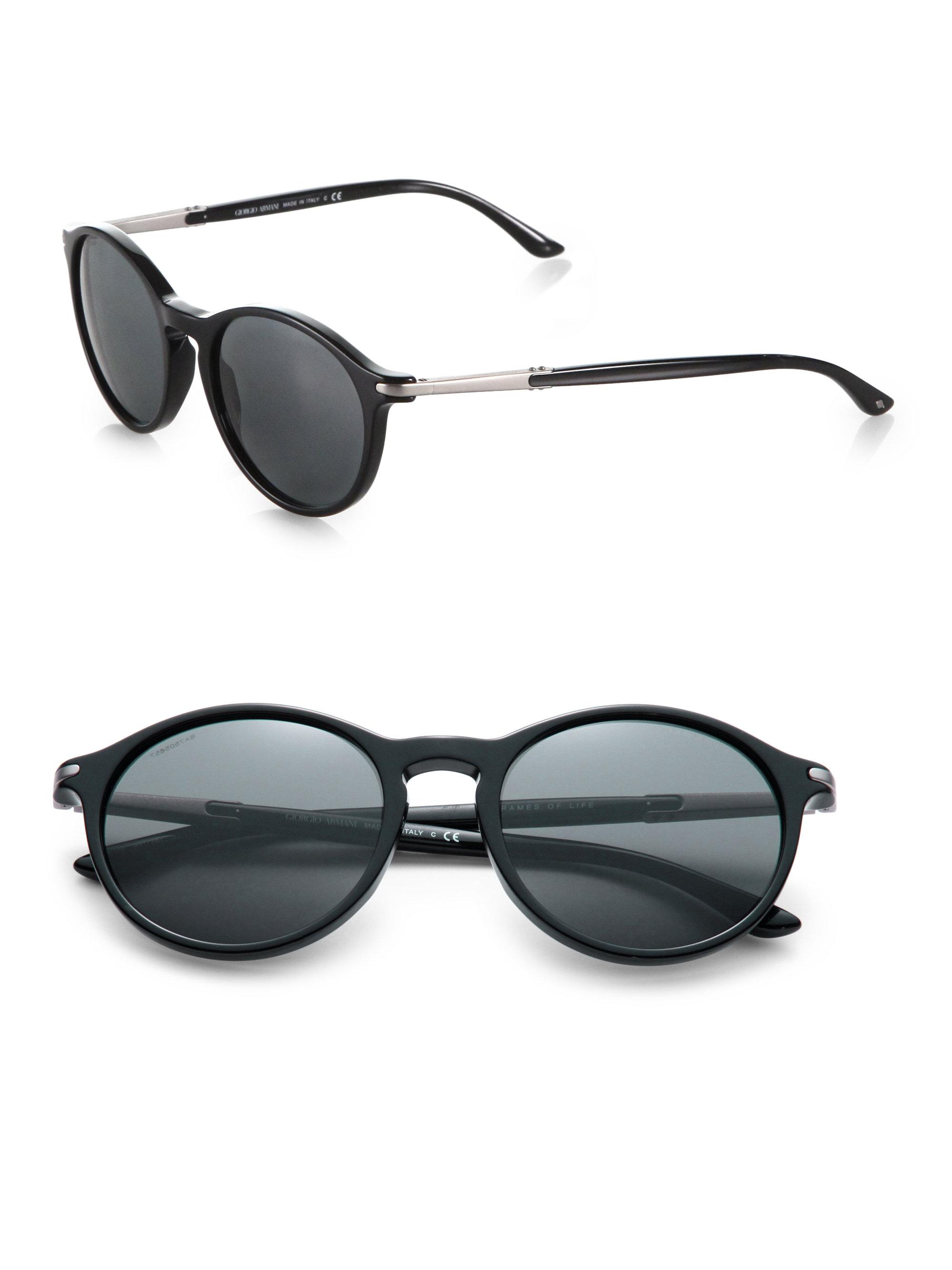 Giorgio armani Round Acetate Sunglasses in Black | Lyst