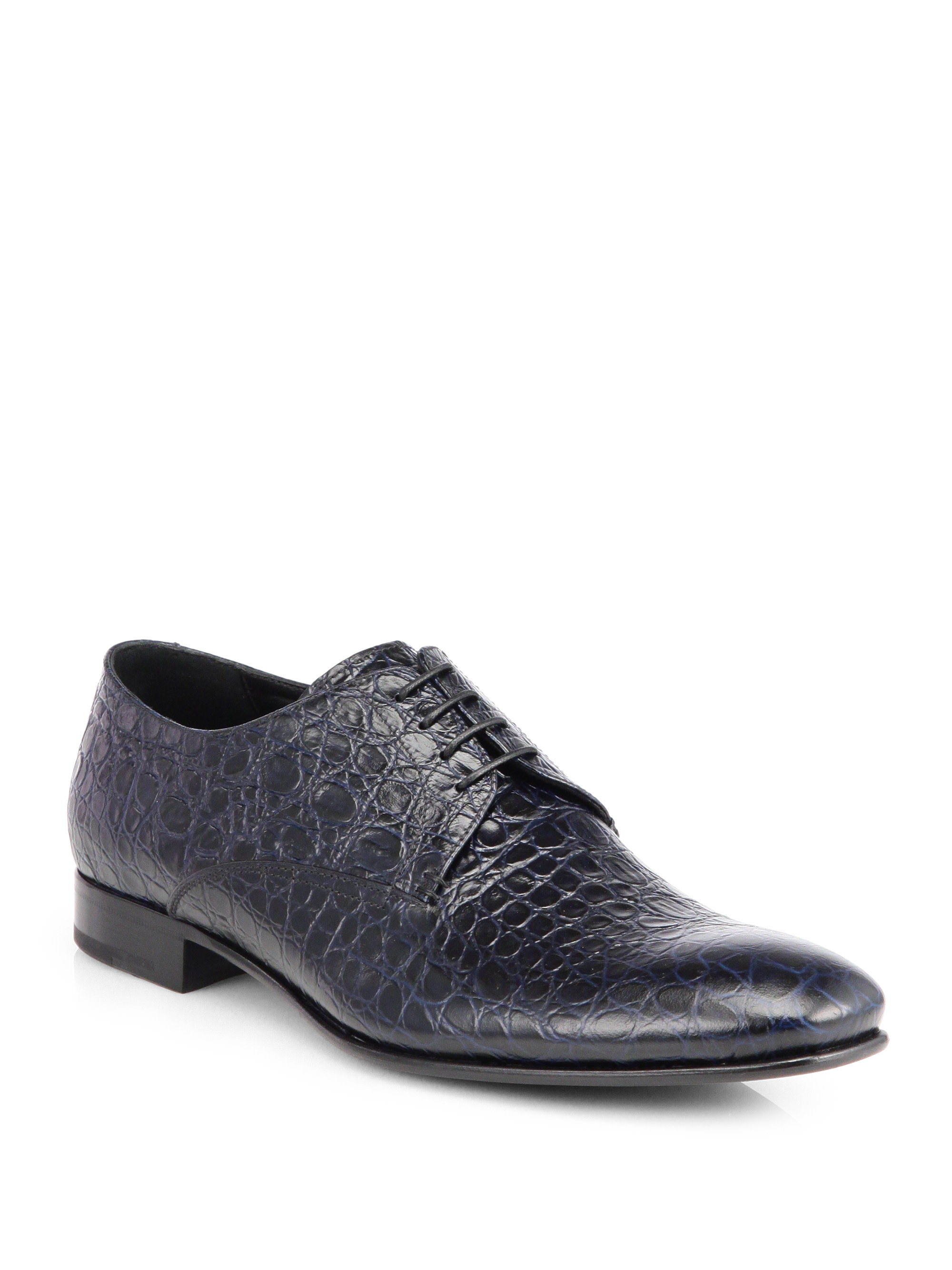 Giorgio Armani Embossed Leather Laceup Dress Shoes in Blue ...