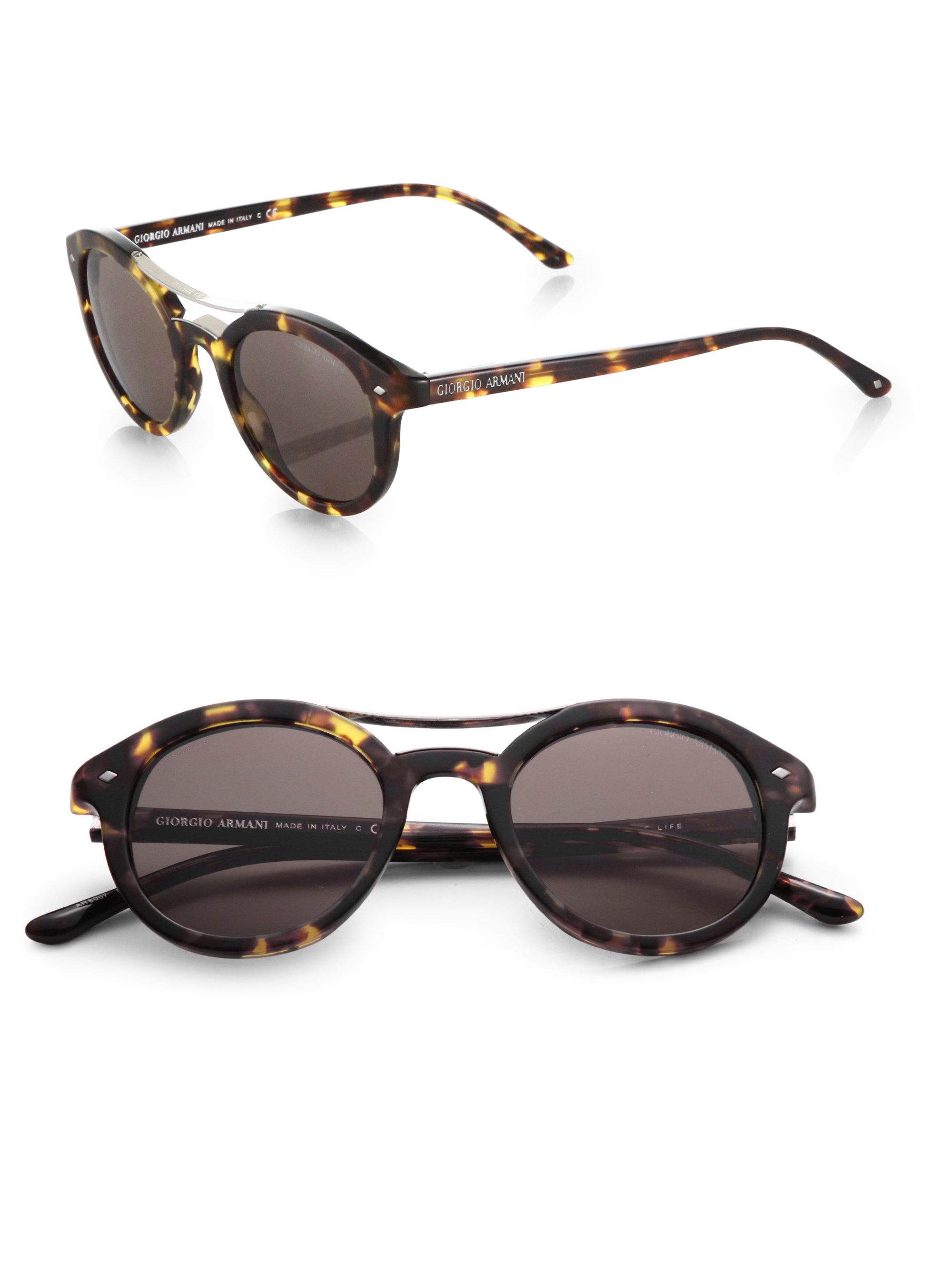 Brow Bar Sunglasses  giorgio armani round brow bar sunglasses in brown for men lyst