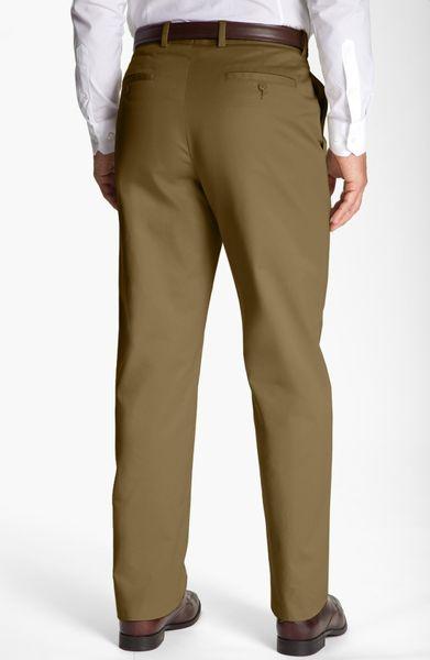 John W. Nordstrom® Smartcare Flat Front Supima Cotton Pants in Khaki ...