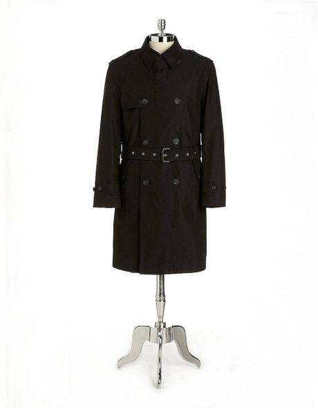 Hart Schaffner Marx Parnell Double Breasted Belted Trench Smart Coat in Black for Men