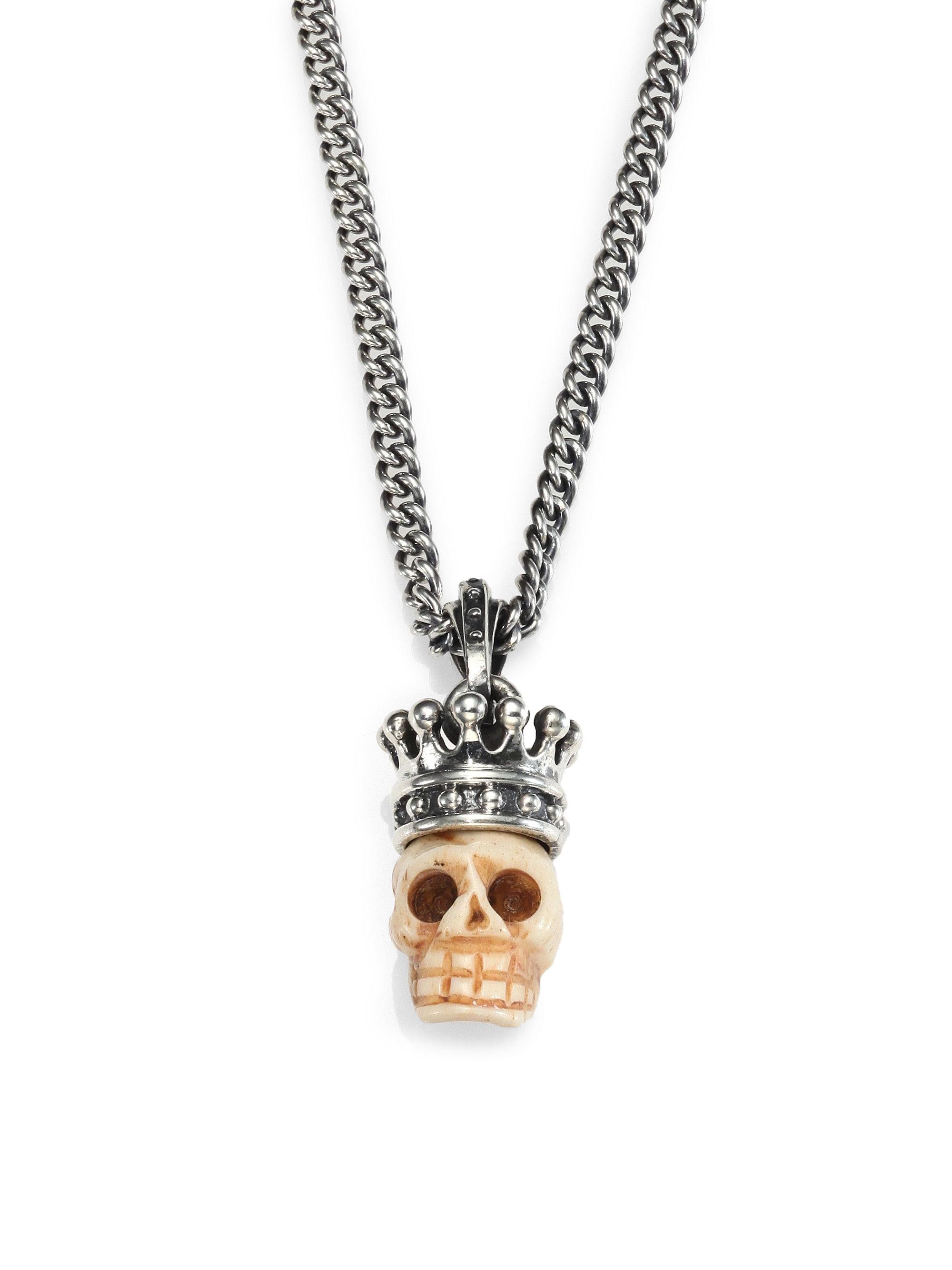 King Baby Studio Carved Bone Skull Pendant Necklace In Sterling Silver Bone Metallic Lyst