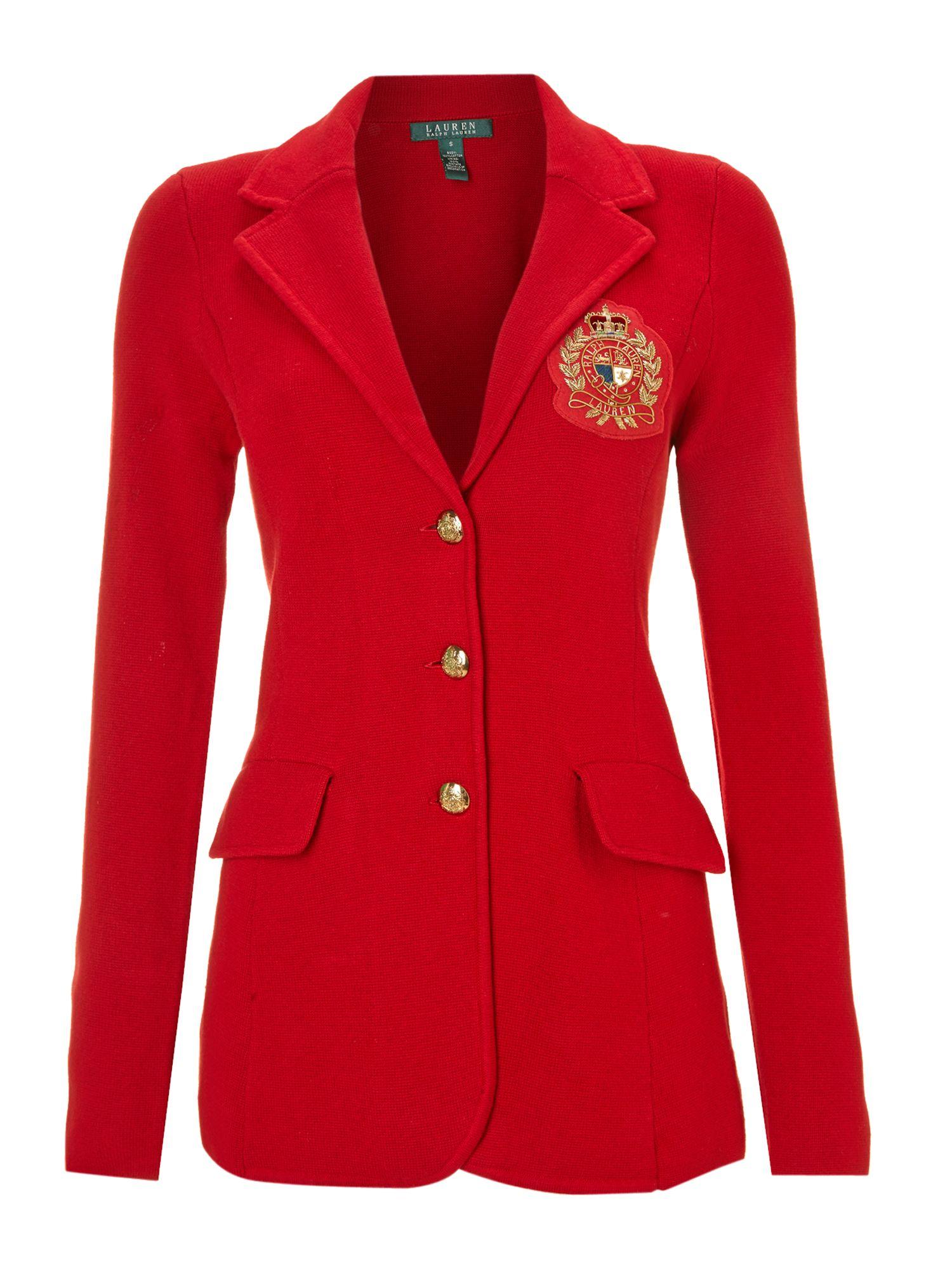 lyst lauren by ralph lauren blazer with crest detail in red. Black Bedroom Furniture Sets. Home Design Ideas