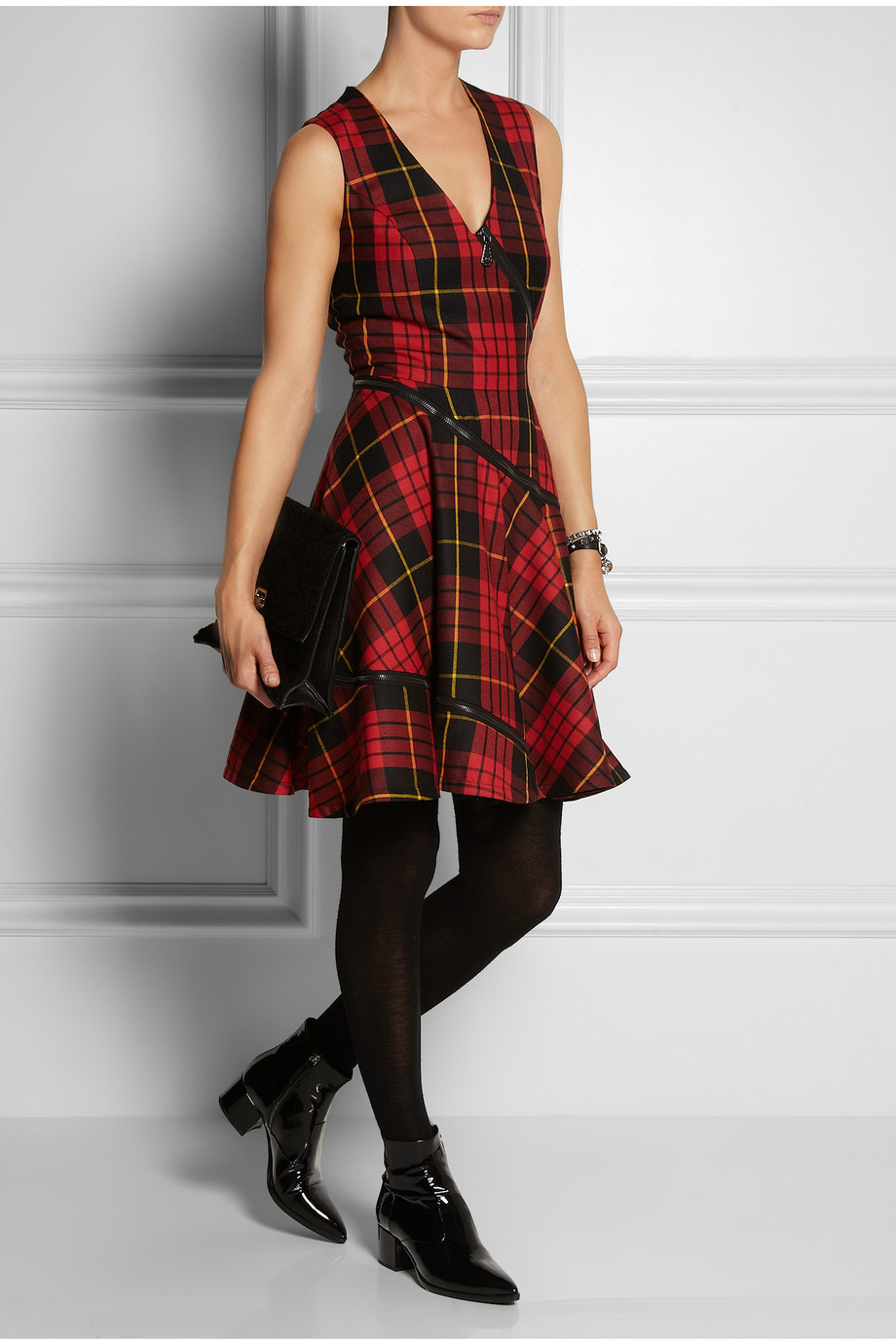 Mcq Tartan Wool Dress In Red Lyst