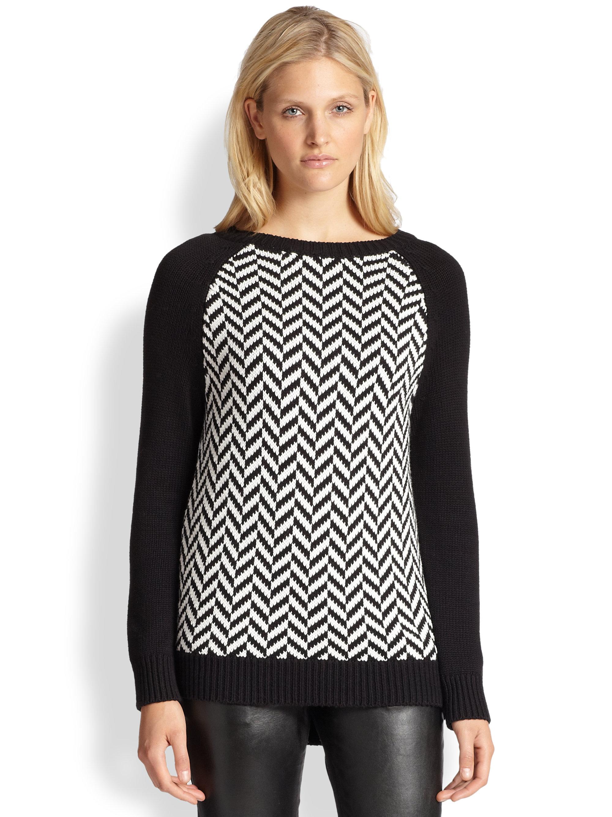 Michael michael kors Herringbone Sweater in Black | Lyst