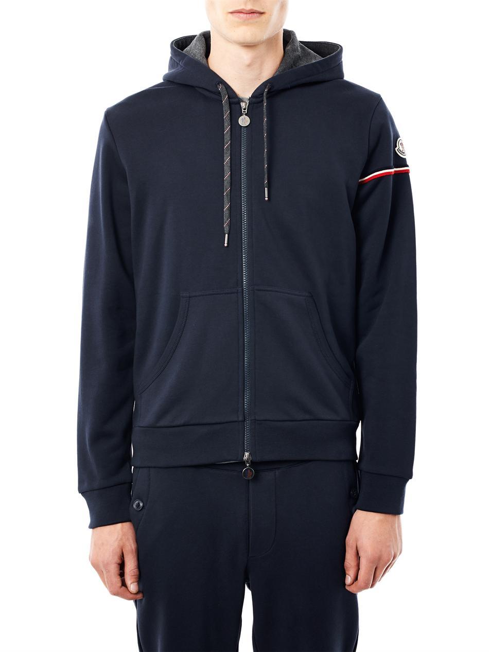 Moncler Zip Front Hooded Sweatshirt in Blue for Men | Lyst