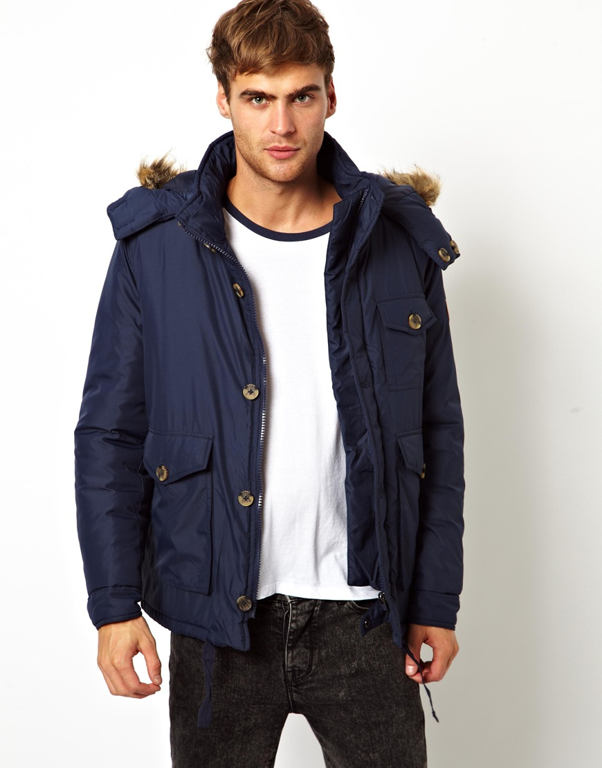 Native youth Padded Parka Jacket in Blue for Men | Lyst