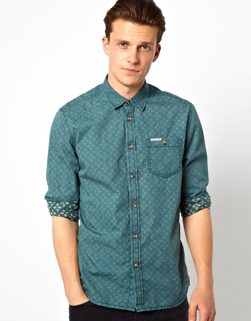 Cheap monday pepe shirt printed paisley slim fit in blue for Cheap slim fit shirts