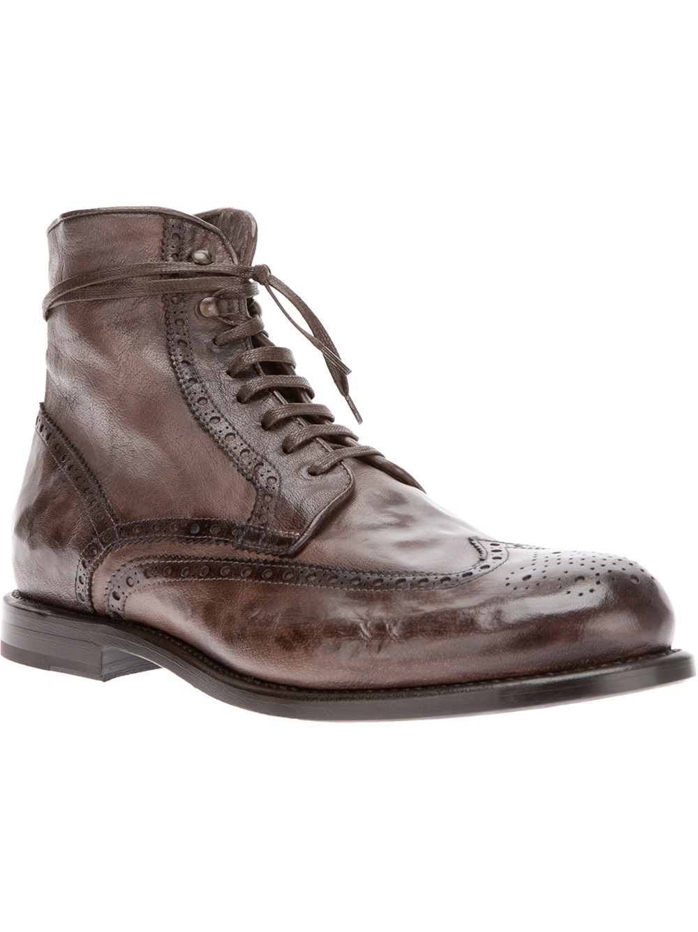 raparo brogue detail ankle boot in brown for lyst
