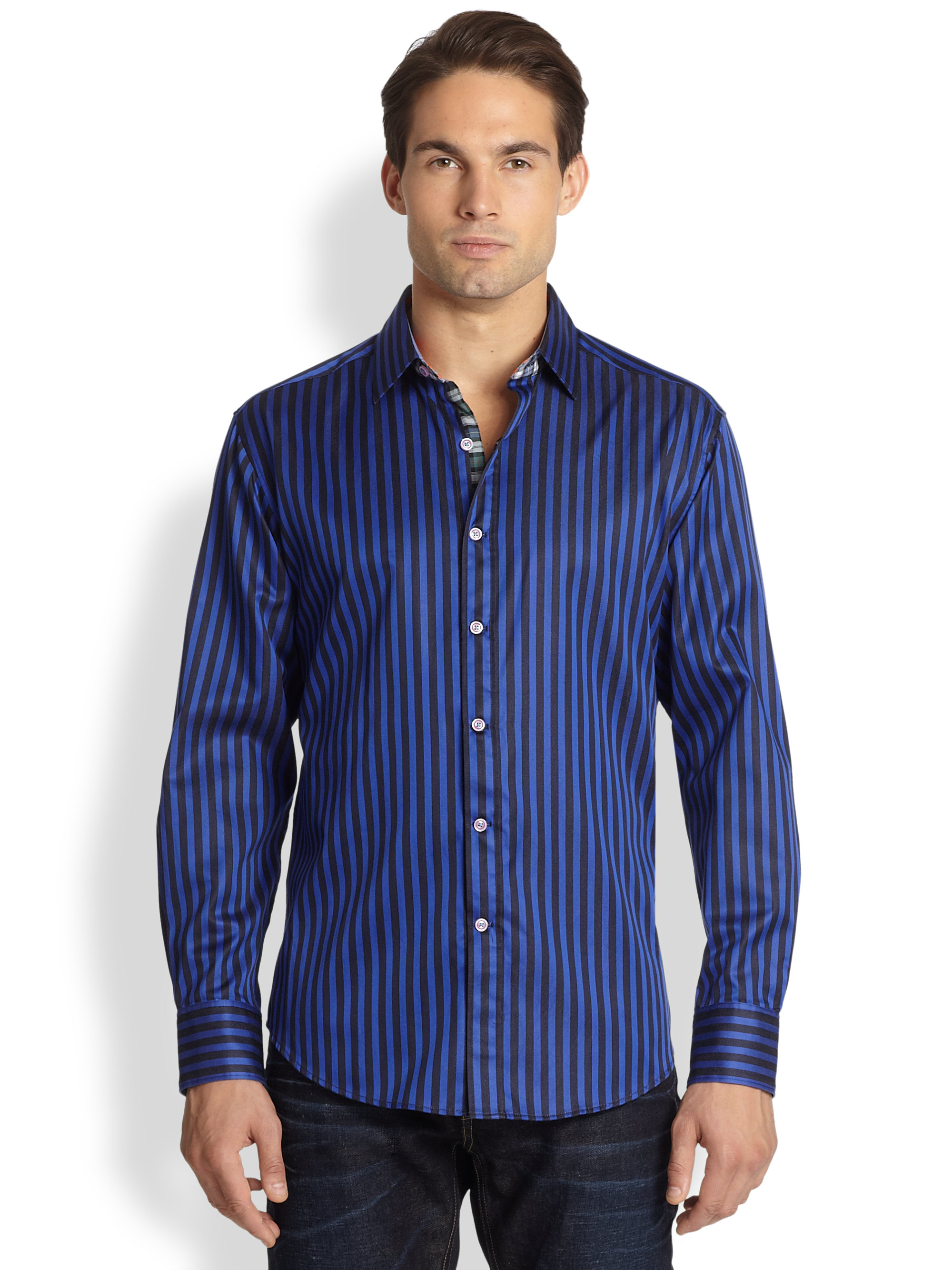 Robert Graham Balik Striped Cotton Shirt in Blue for Men ... Robert Graham Designer