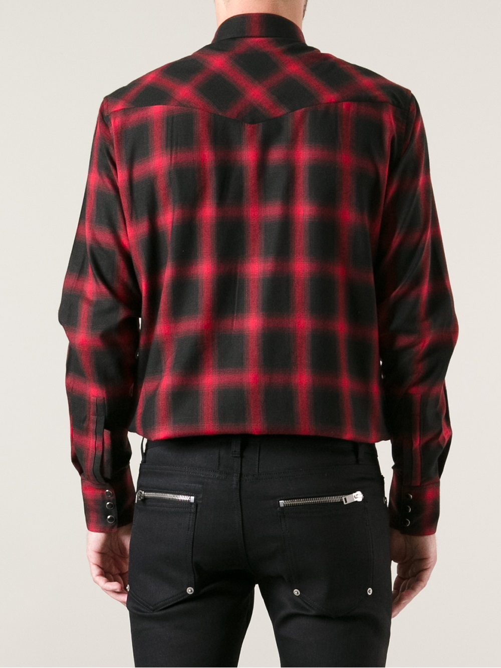 Lyst Saint Laurent Plaid Flannel Shirt In Red For Men