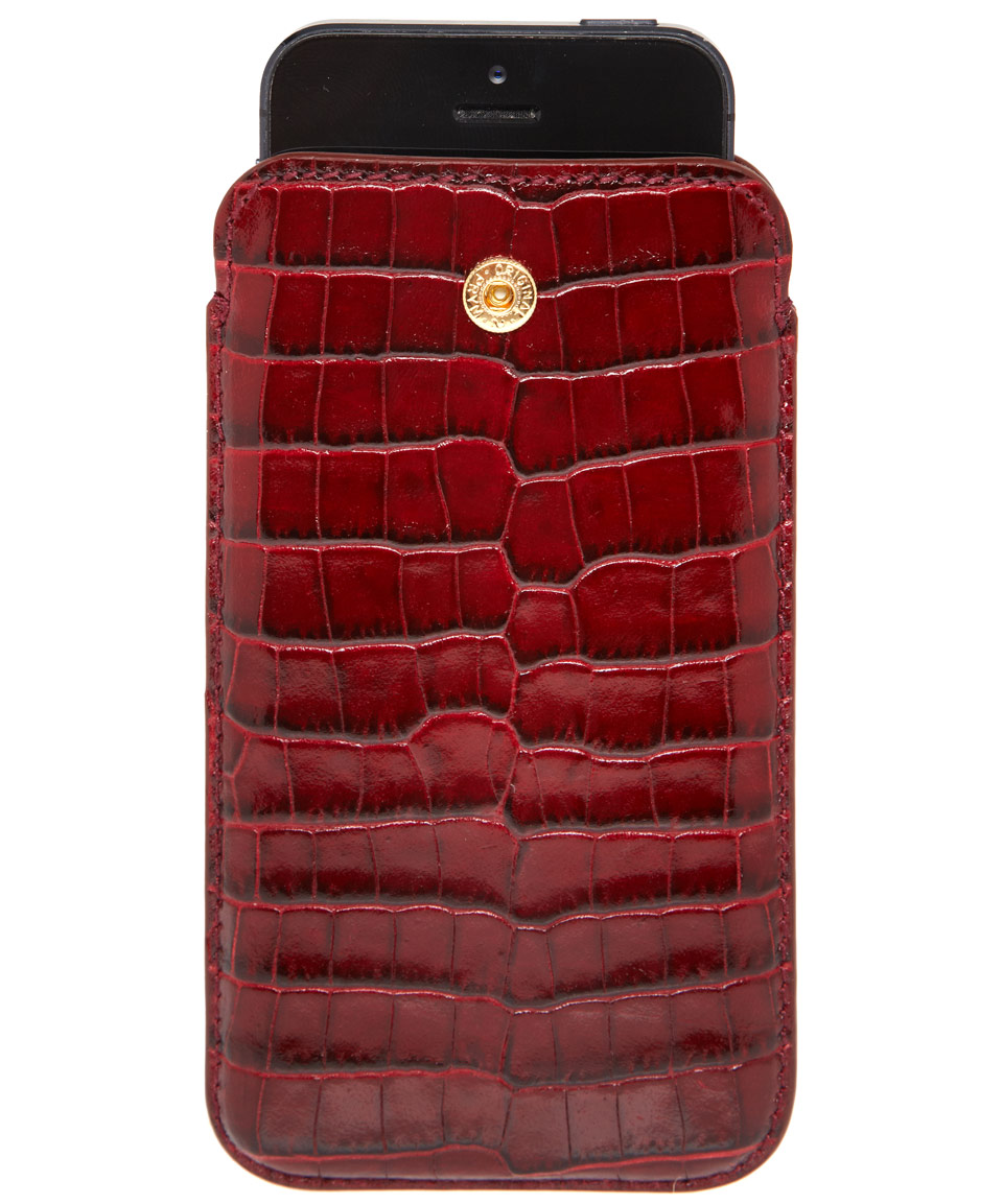 low priced 7c47d 7f4a2 Smythson Red Mara Leather Iphone 5 Case