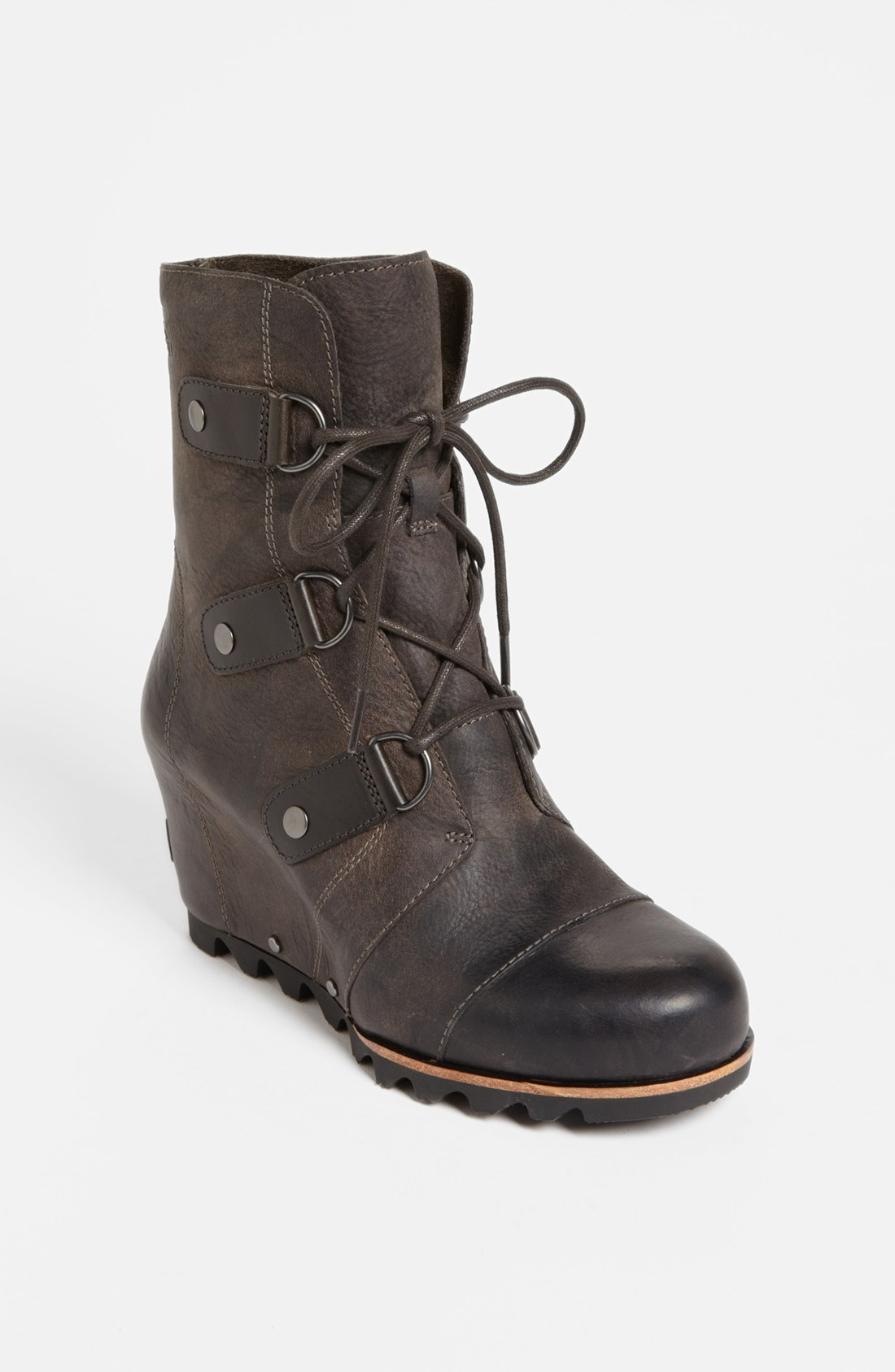 sorel joan of arctic wedge boot in black black grill lyst