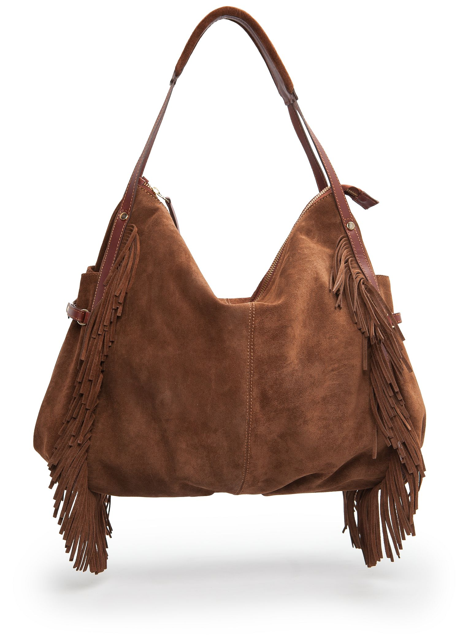 Mango Fringed Suede Hobo Bag in Brown | Lyst