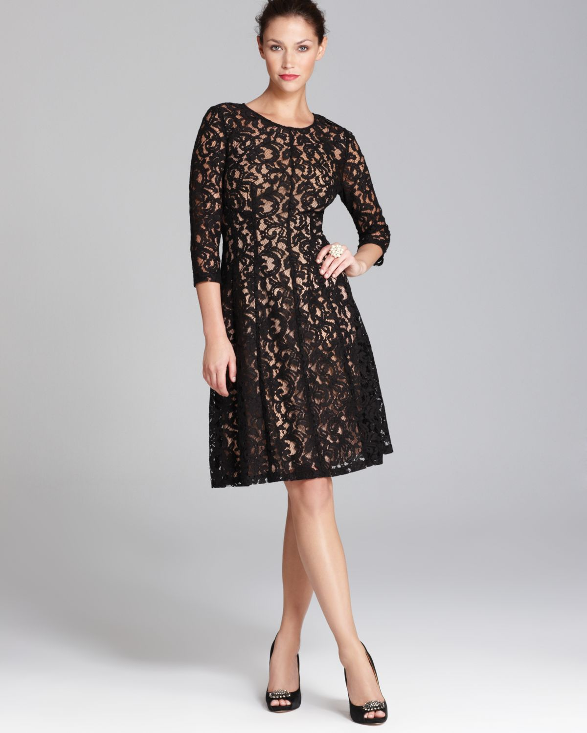 Three Quarter Sleeve Lace Fit And Flare Dress Sleeveless