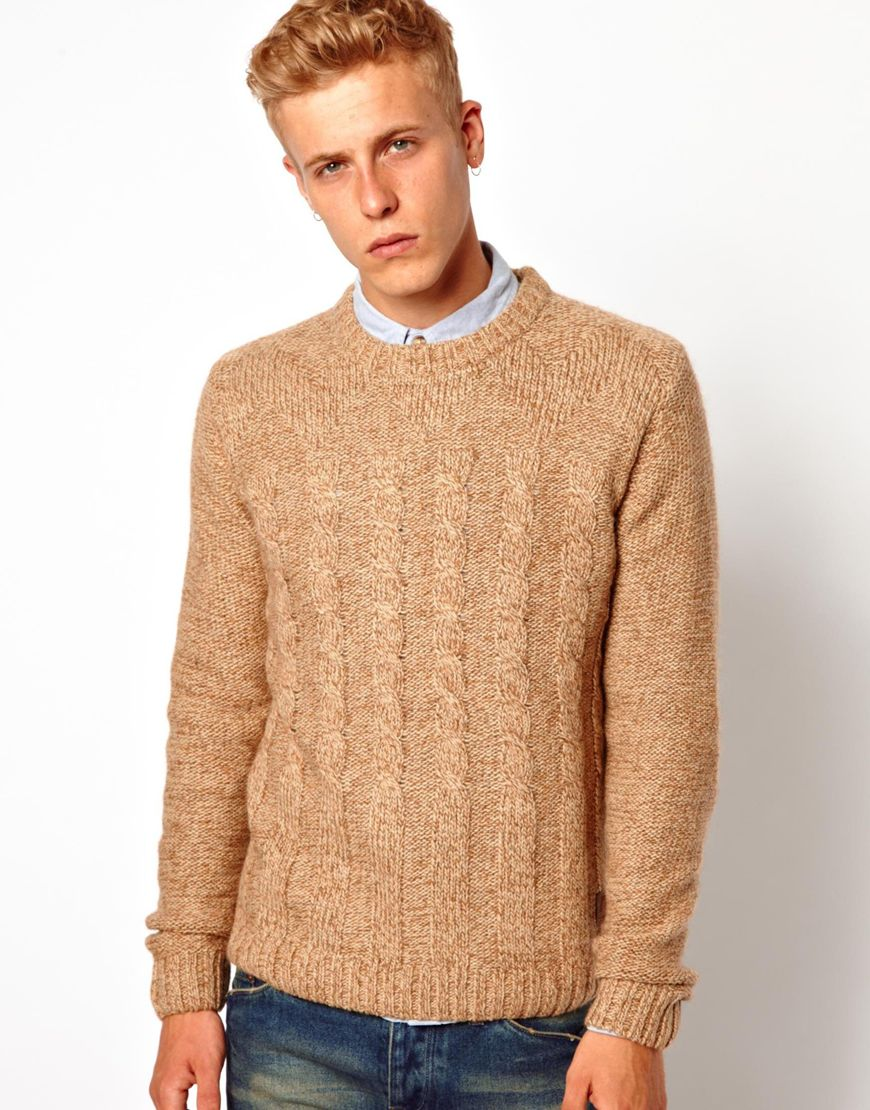 Asos Anerkjendt Cable Knit Sweater in Natural for Men | Lyst