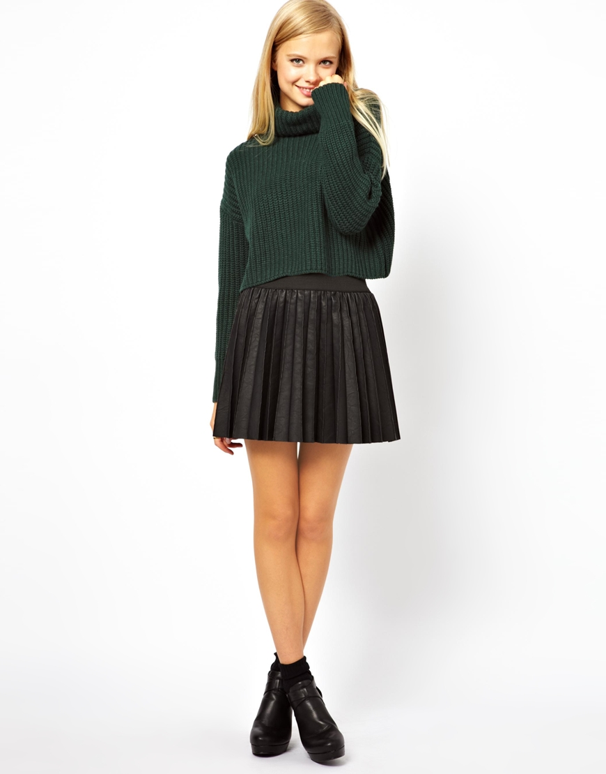 363a0a35519 ASOS Green Cropped Jumper with Roll Neck in Chunky Rib